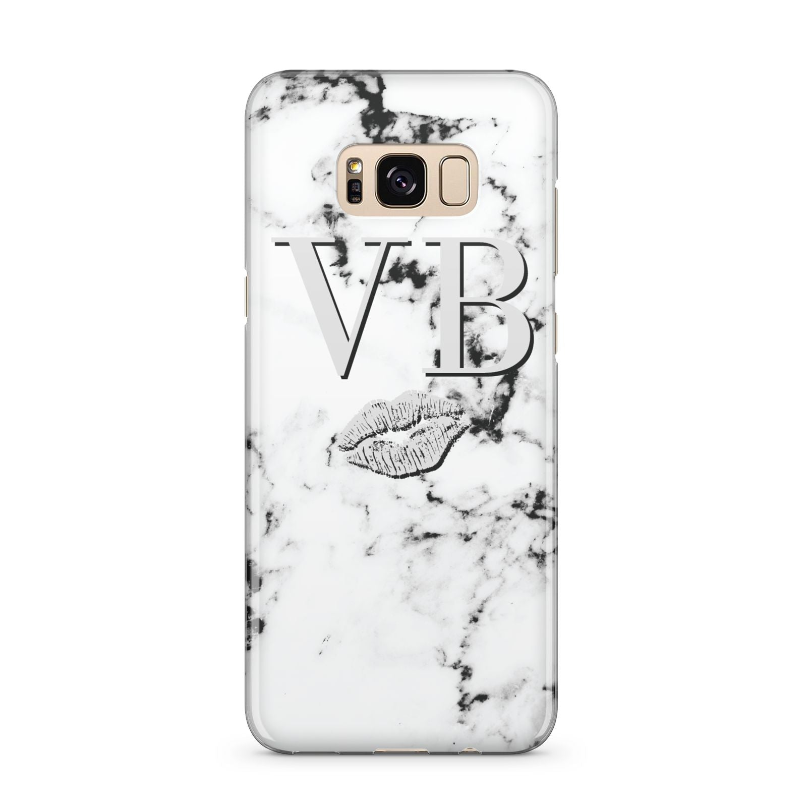 Personalised Lips Kiss Marble Initialed Samsung Galaxy S8 Plus Case
