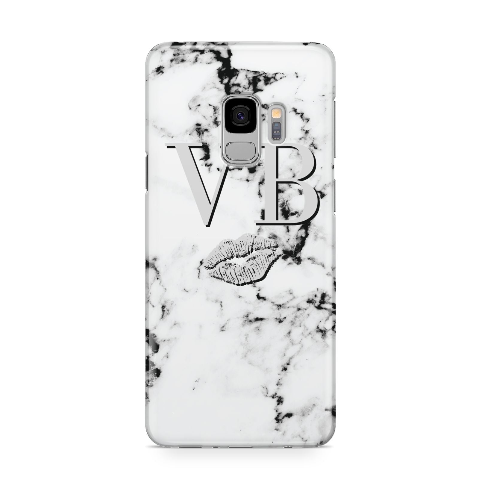 Personalised Lips Kiss Marble Initialed Samsung Galaxy S9 Case