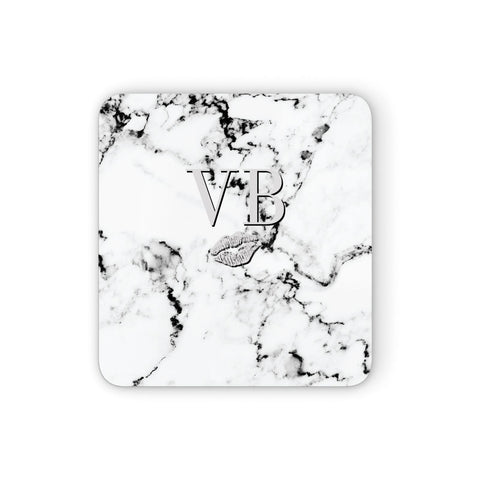 Personalised Lips Kiss Marble Initialed Coasters set of 4