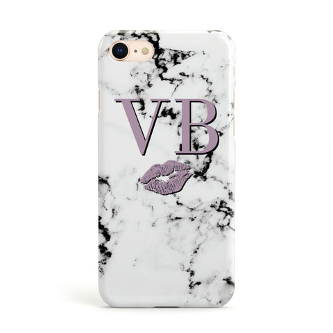 Personalised Lipstick Kiss Initials Marble Apple iPhone Case
