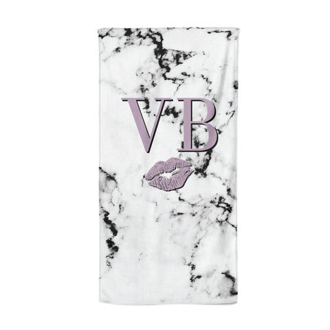 Personalised Lipstick Kiss Initials Marble Beach Towel