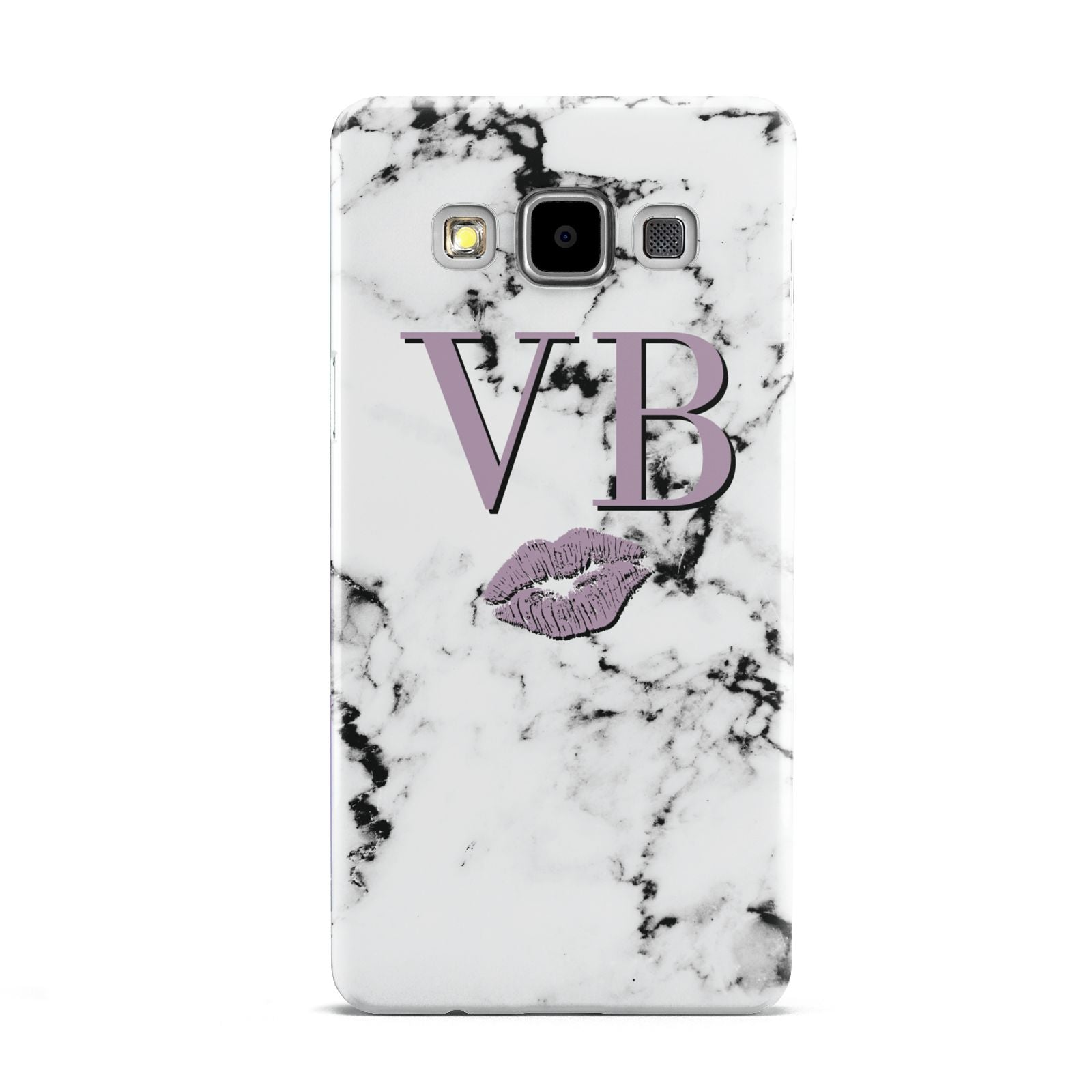 Personalised Lipstick Kiss Initials Marble Samsung Galaxy A5 Case