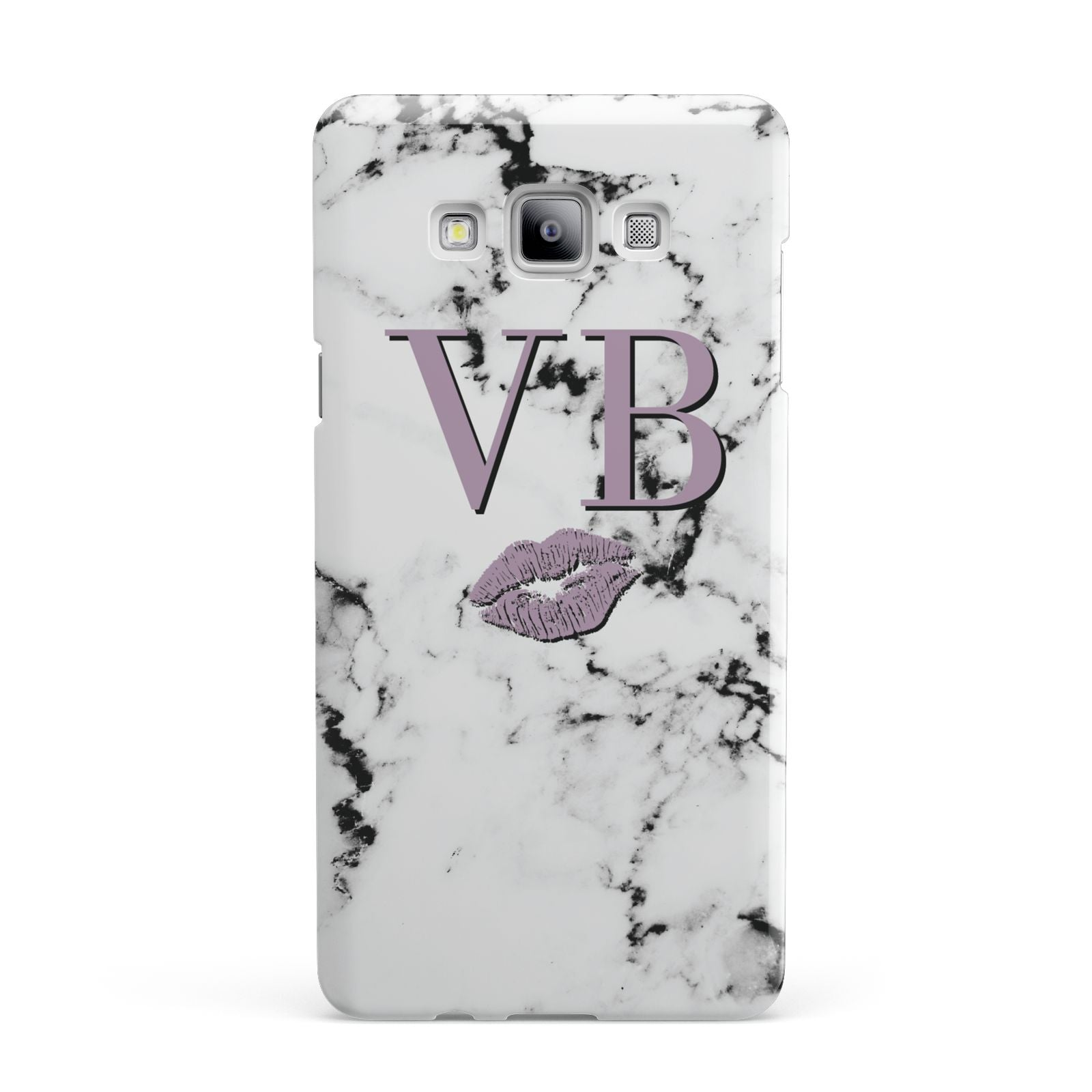 Personalised Lipstick Kiss Initials Marble Samsung Galaxy A7 2015 Case