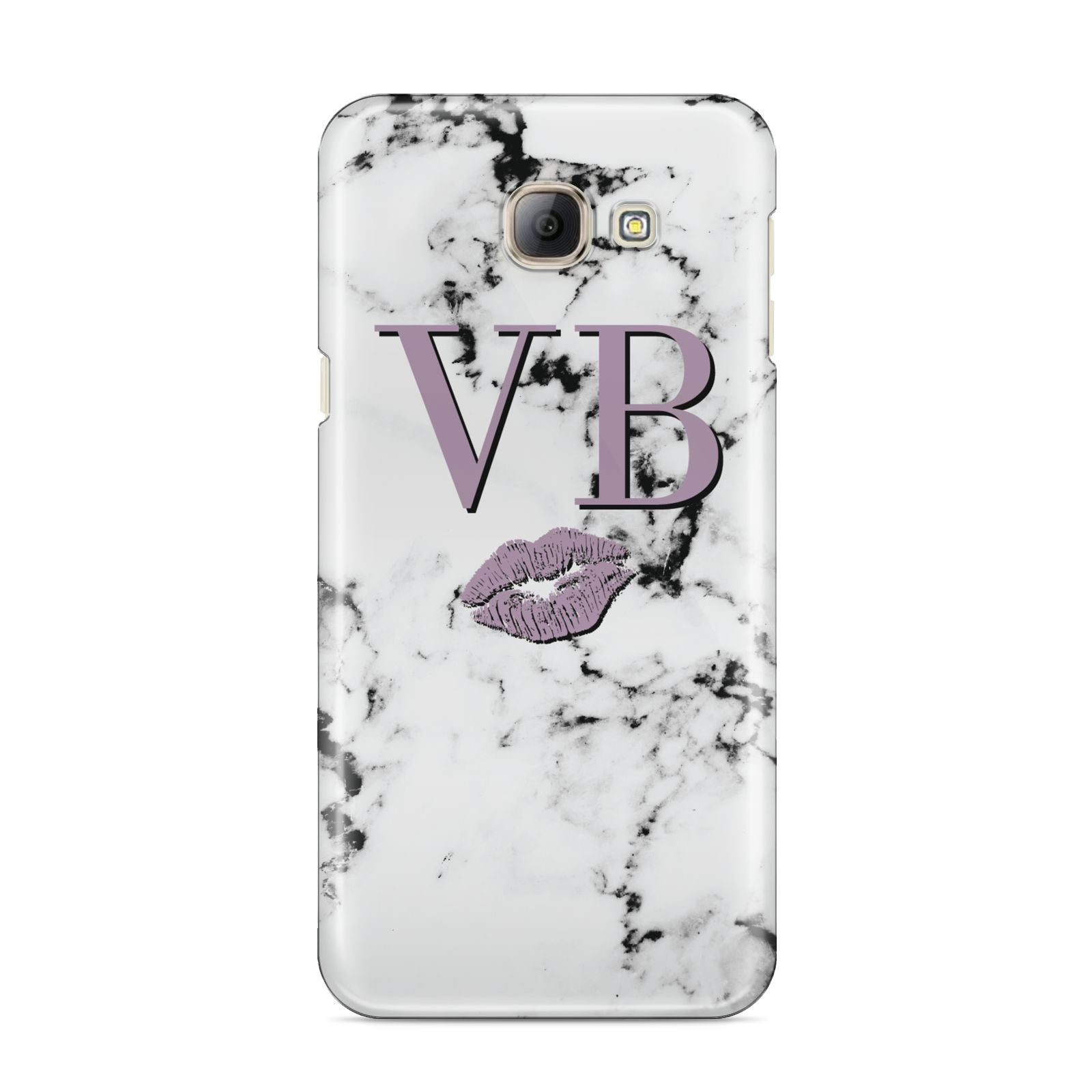 Personalised Lipstick Kiss Initials Marble Samsung Galaxy A8 2016 Case