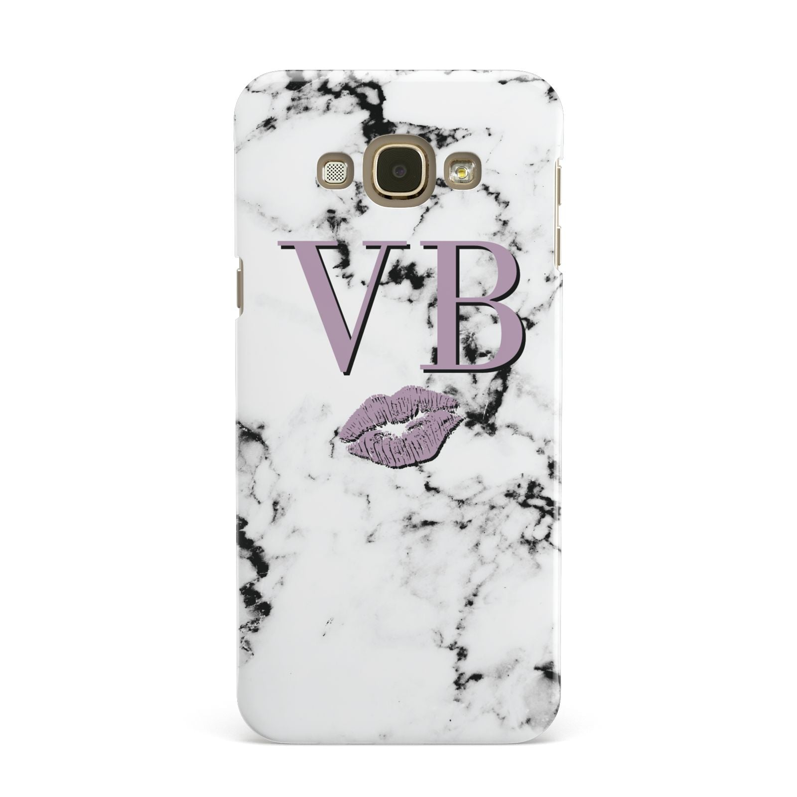 Personalised Lipstick Kiss Initials Marble Samsung Galaxy A8 Case