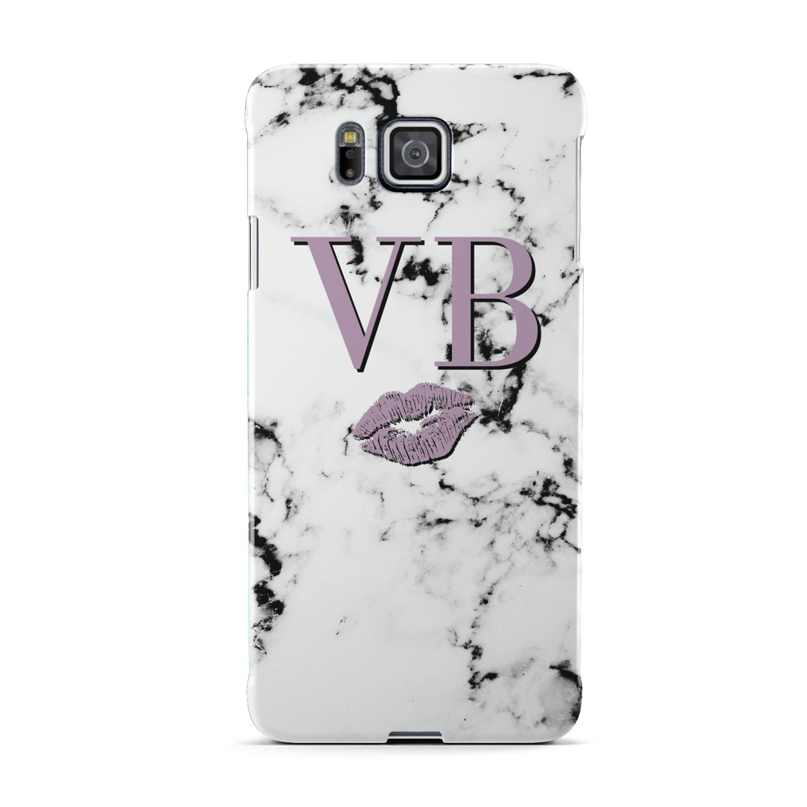 Personalised Lipstick Kiss Initials Marble Samsung Galaxy Alpha Case