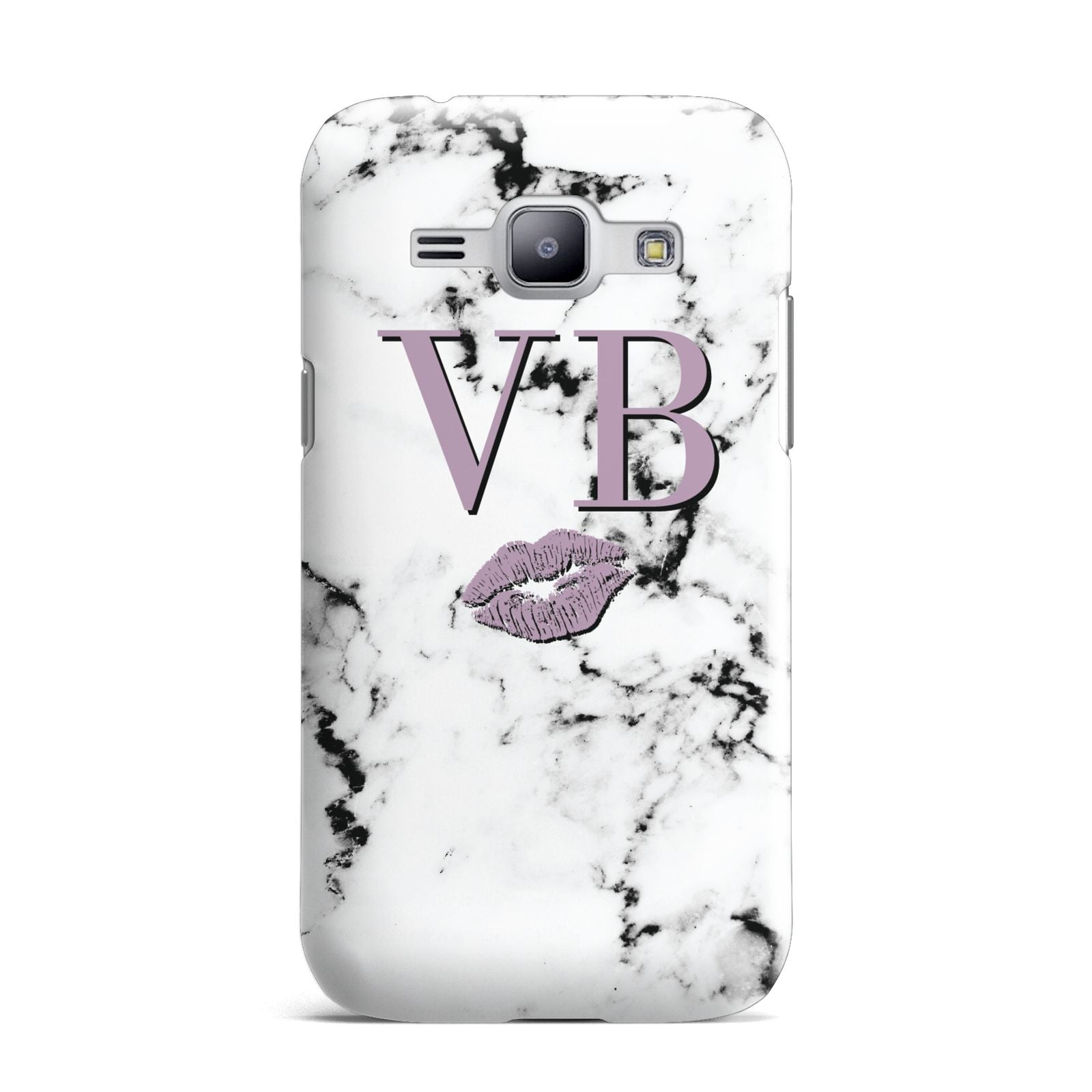 Personalised Lipstick Kiss Initials Marble Samsung Galaxy J1 2015 Case