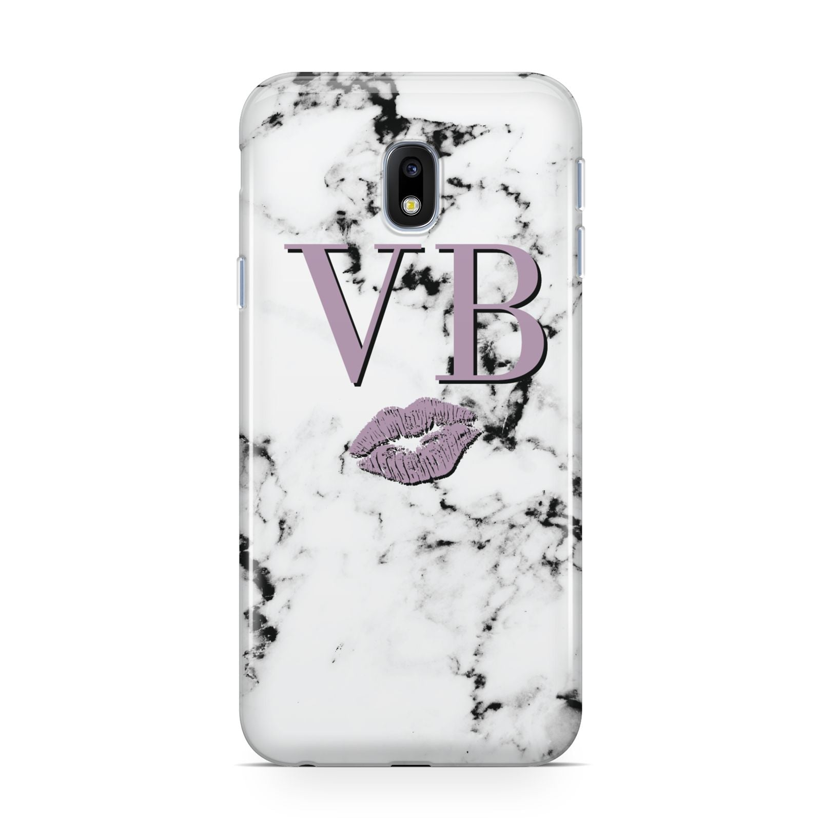 Personalised Lipstick Kiss Initials Marble Samsung Galaxy J3 2017 Case