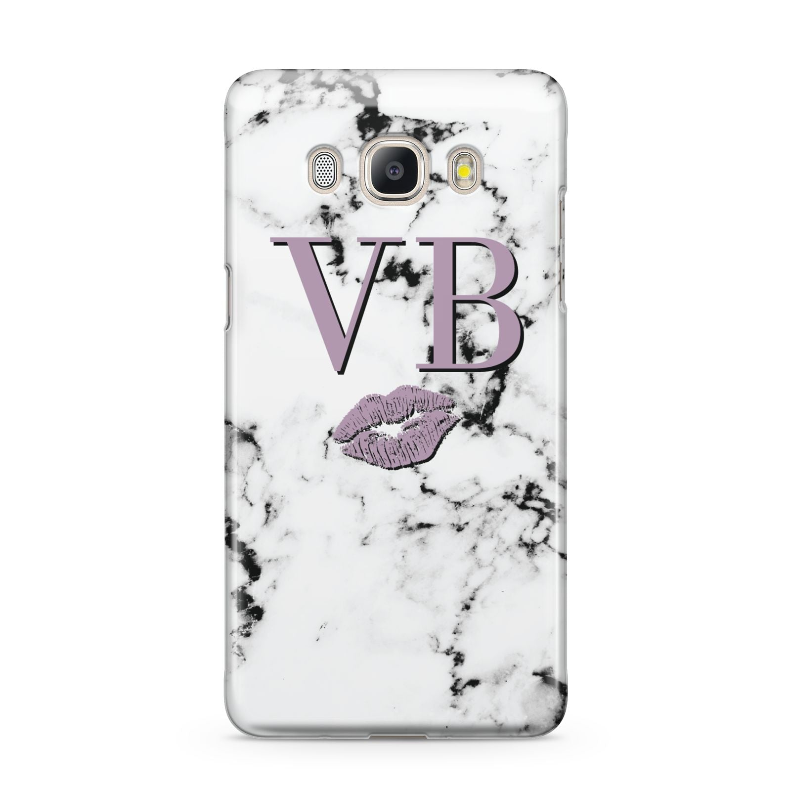Personalised Lipstick Kiss Initials Marble Samsung Galaxy J5 2016 Case