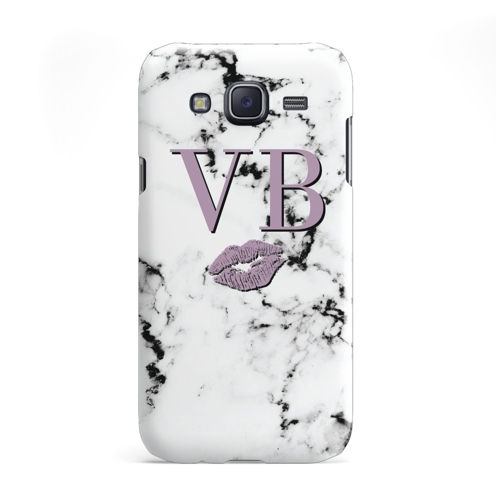 Personalised Lipstick Kiss Initials Marble Samsung Galaxy J5 Case