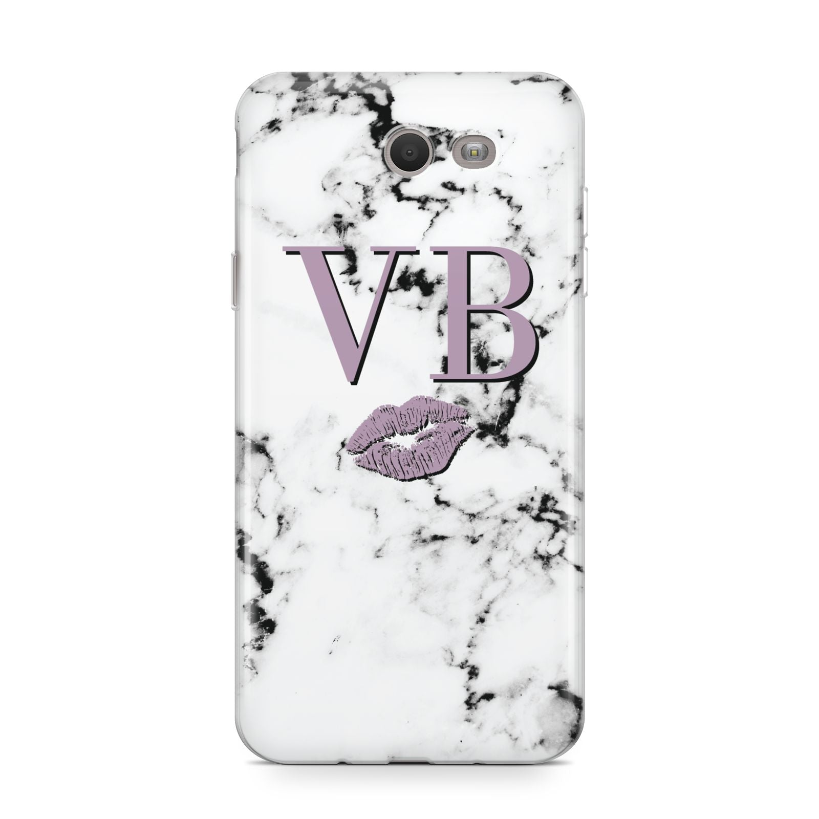 Personalised Lipstick Kiss Initials Marble Samsung Galaxy J7 2017 Case