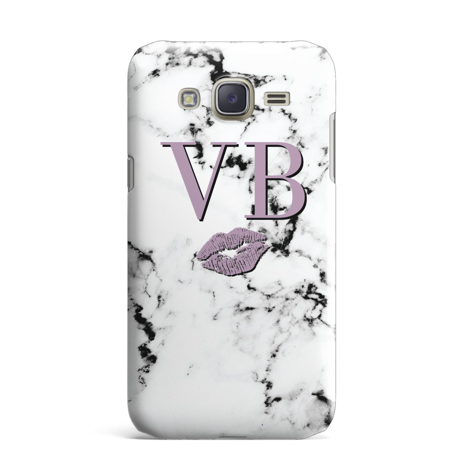 Personalised Lipstick Kiss Initials Marble Samsung Galaxy J7 Case