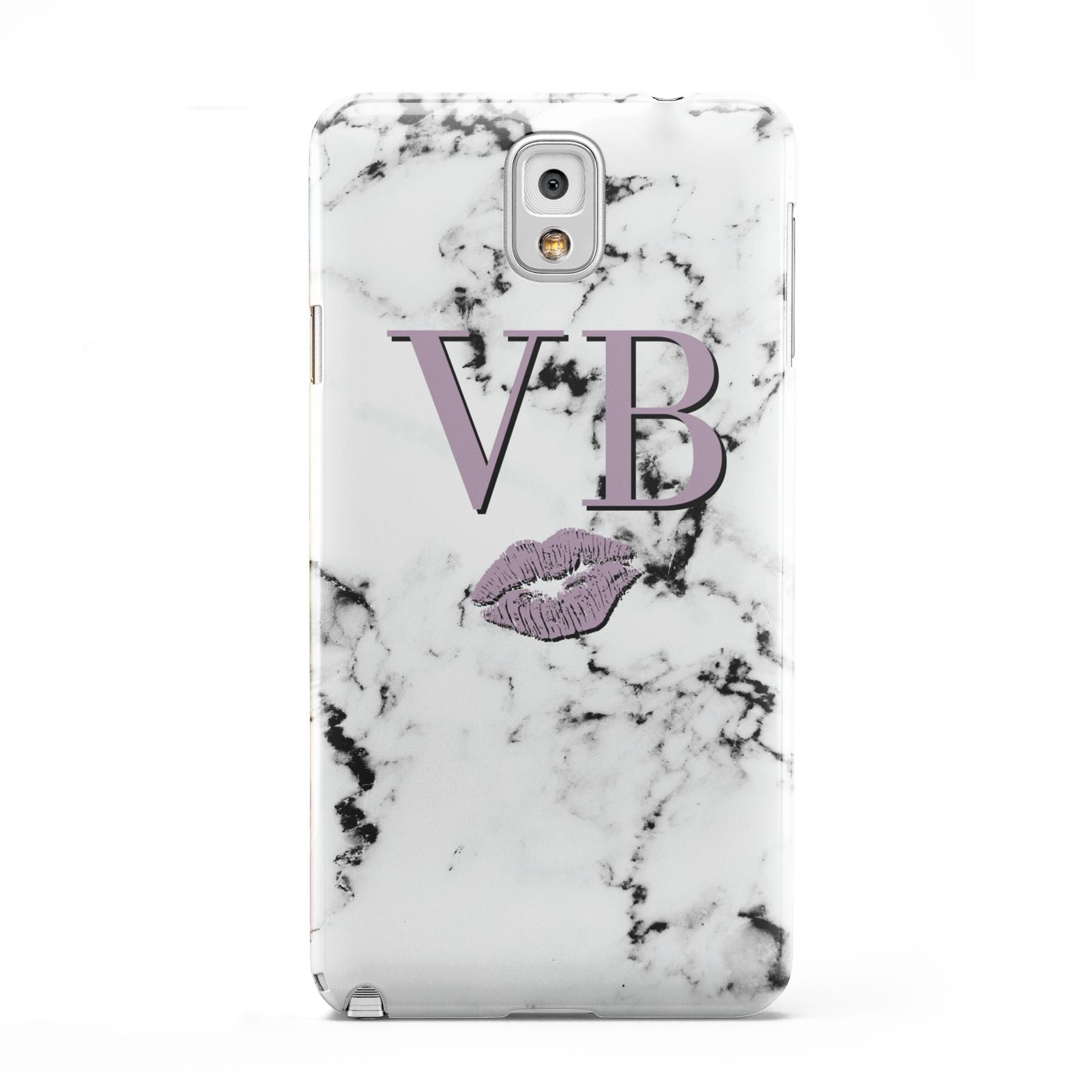 Personalised Lipstick Kiss Initials Marble Samsung Galaxy Note 3 Case