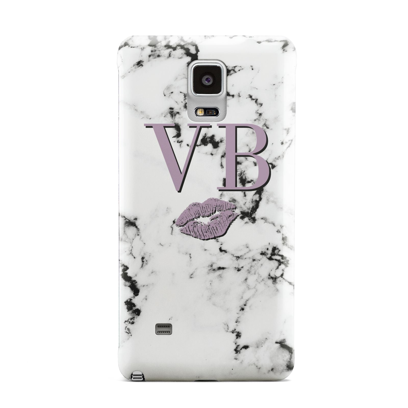 Personalised Lipstick Kiss Initials Marble Samsung Galaxy Note 4 Case