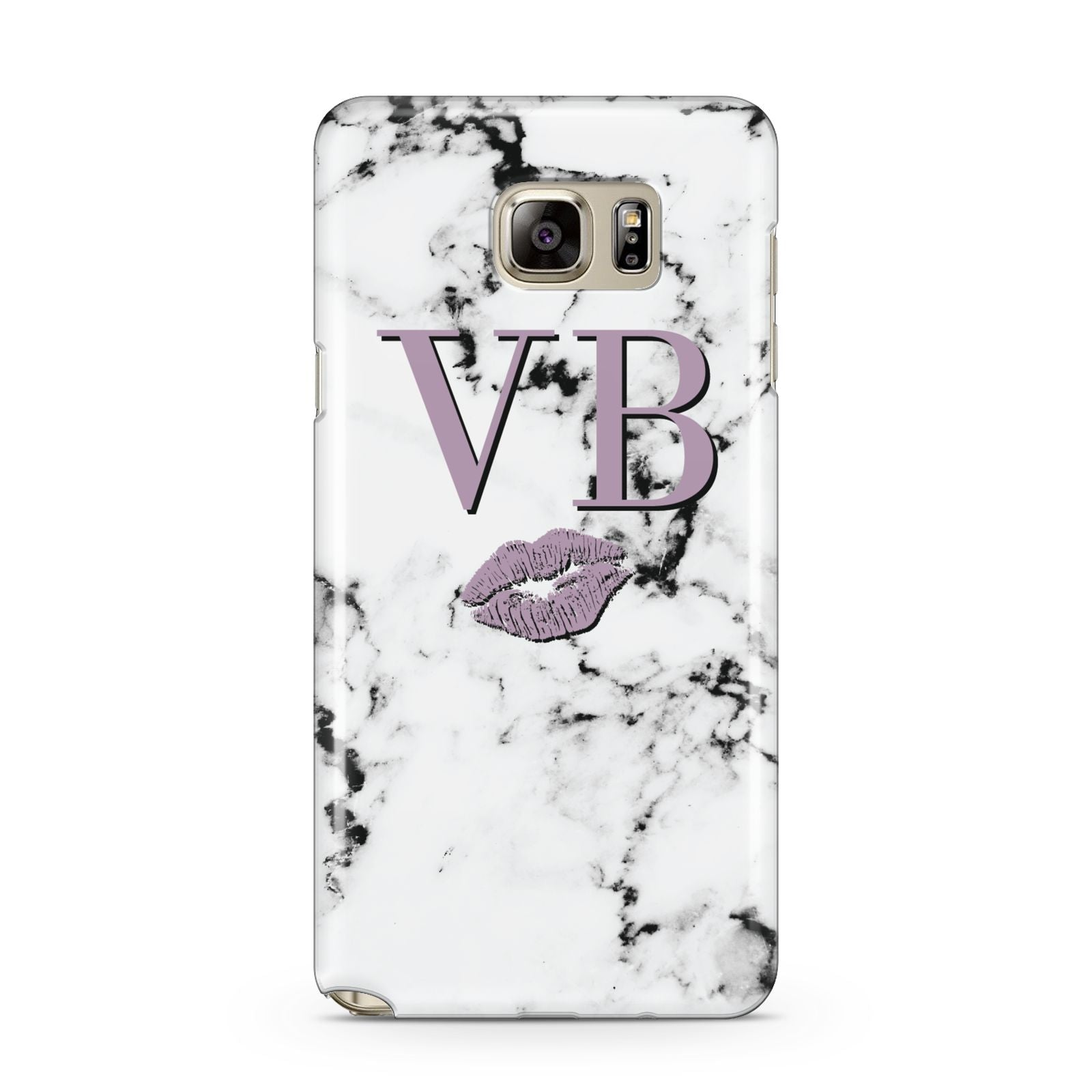 Personalised Lipstick Kiss Initials Marble Samsung Galaxy Note 5 Case