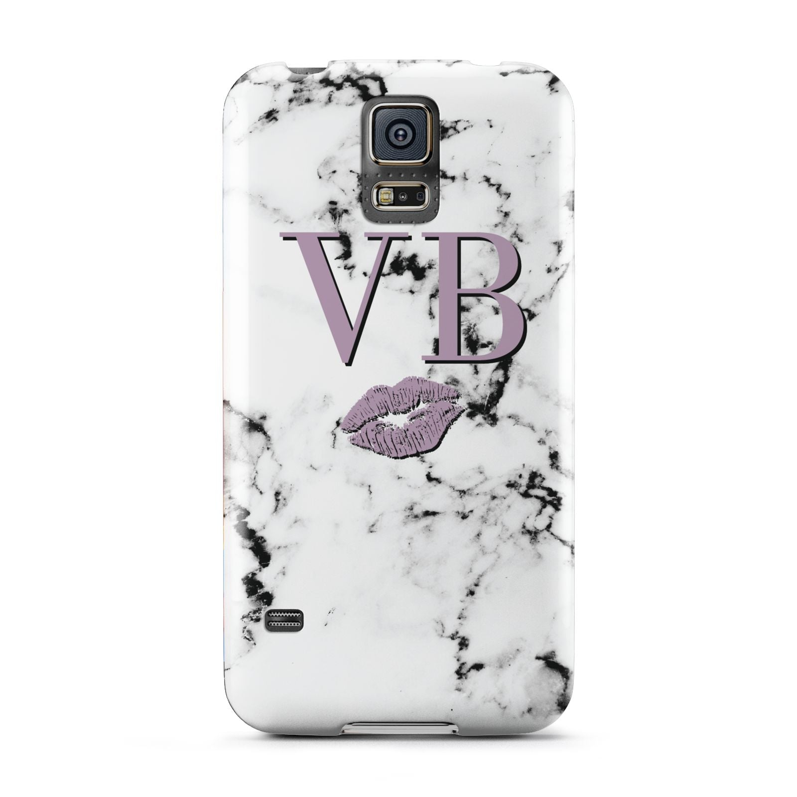 Personalised Lipstick Kiss Initials Marble Samsung Galaxy S5 Case