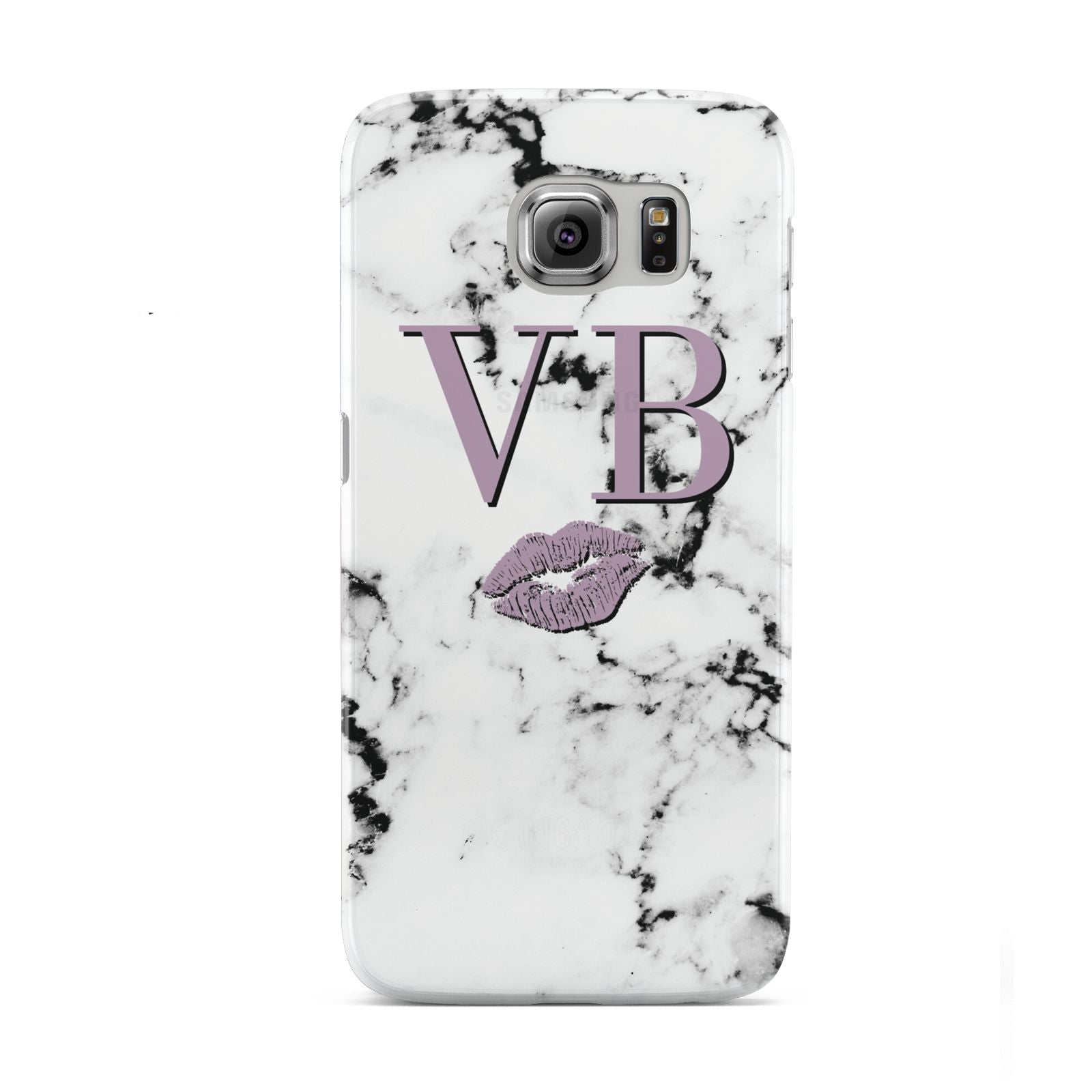 Personalised Lipstick Kiss Initials Marble Samsung Galaxy S6 Case