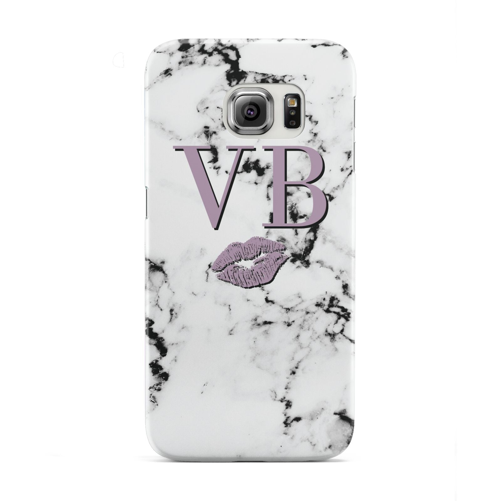 Personalised Lipstick Kiss Initials Marble Samsung Galaxy S6 Edge Case