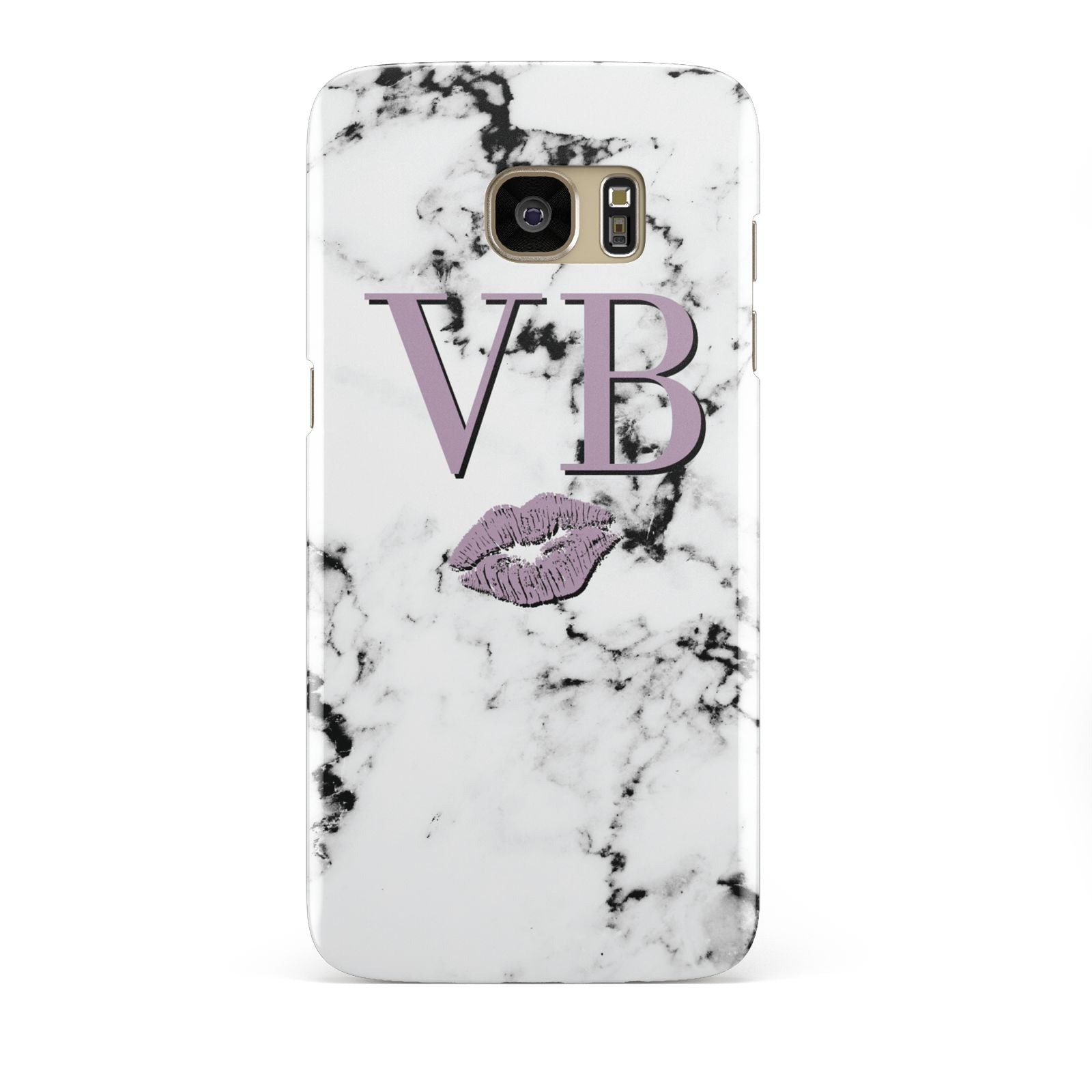 Personalised Lipstick Kiss Initials Marble Samsung Galaxy S7 Edge Case
