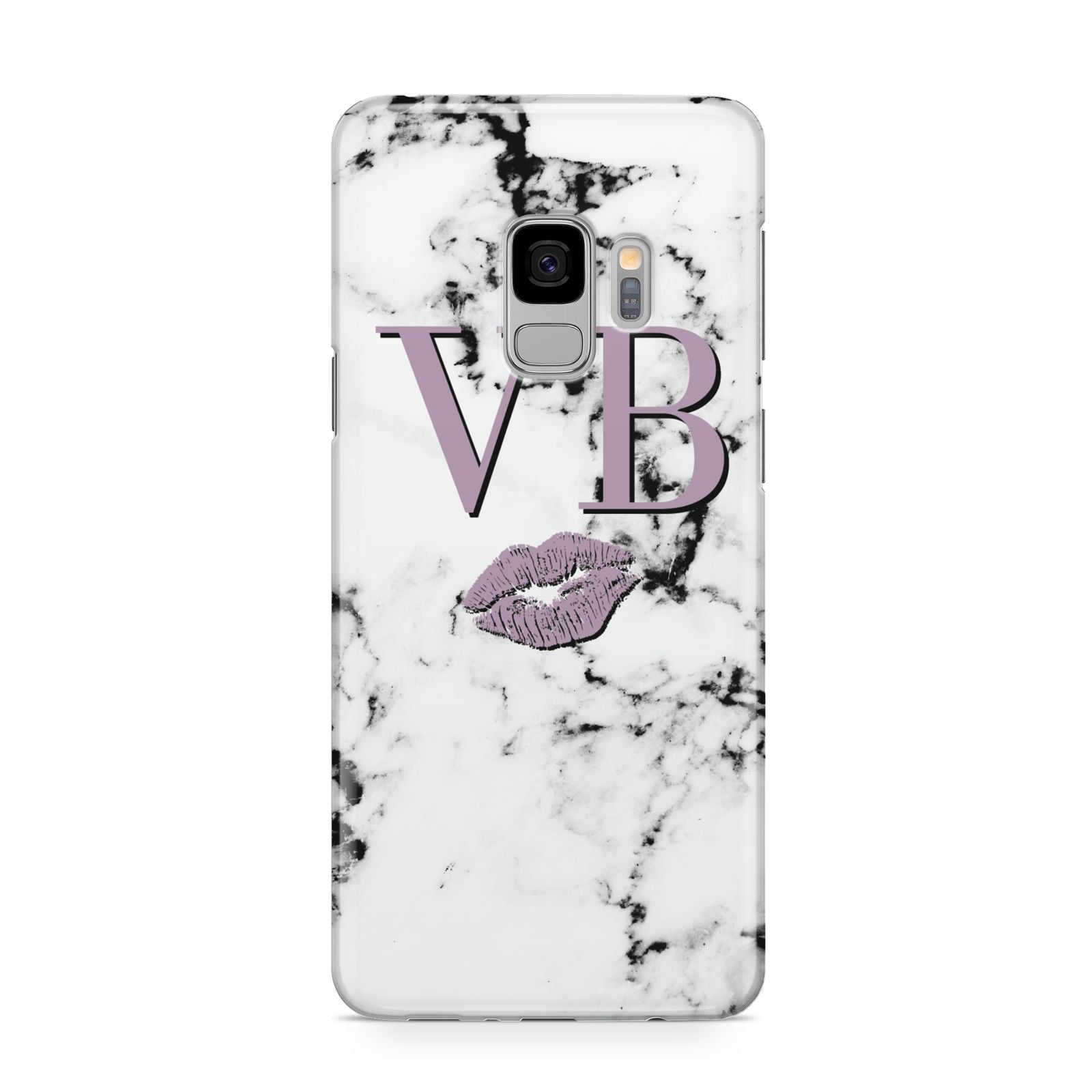 Personalised Lipstick Kiss Initials Marble Samsung Galaxy S9 Case