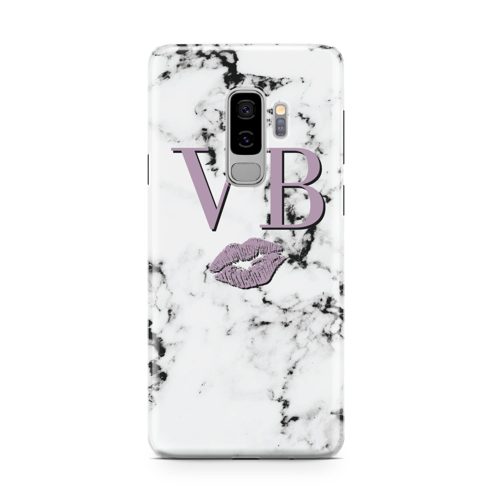 Personalised Lipstick Kiss Initials Marble Samsung Galaxy S9 Plus Case on Silver phone