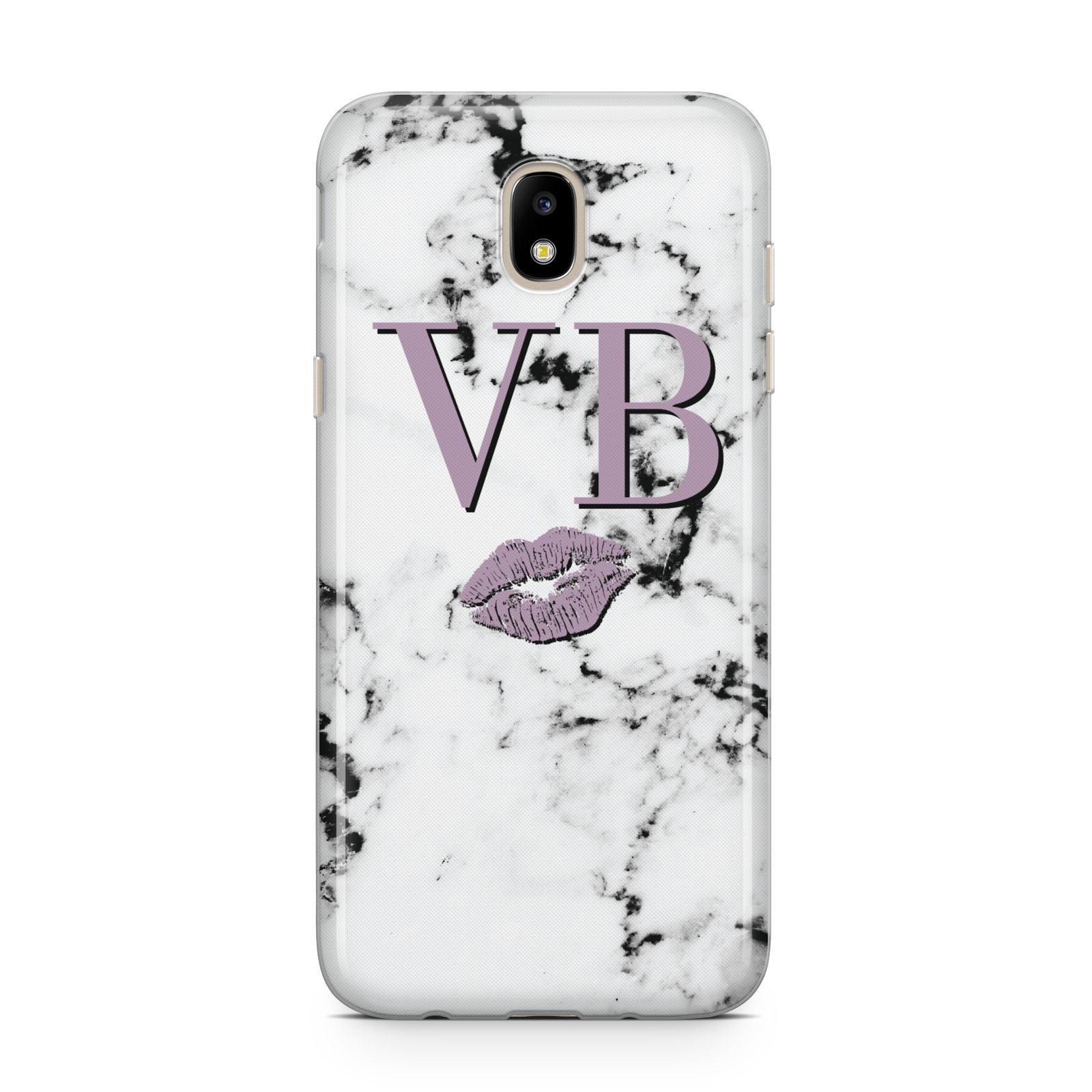 Personalised Lipstick Kiss Initials Marble Samsung J5 2017 Case