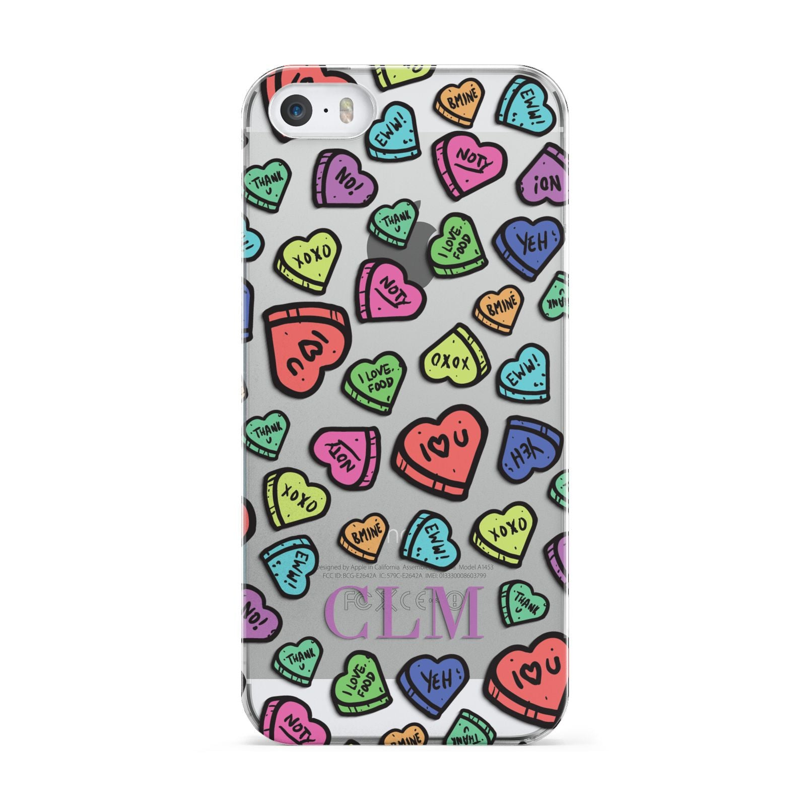 Personalised Love Hearts Initials Apple iPhone 5 Case