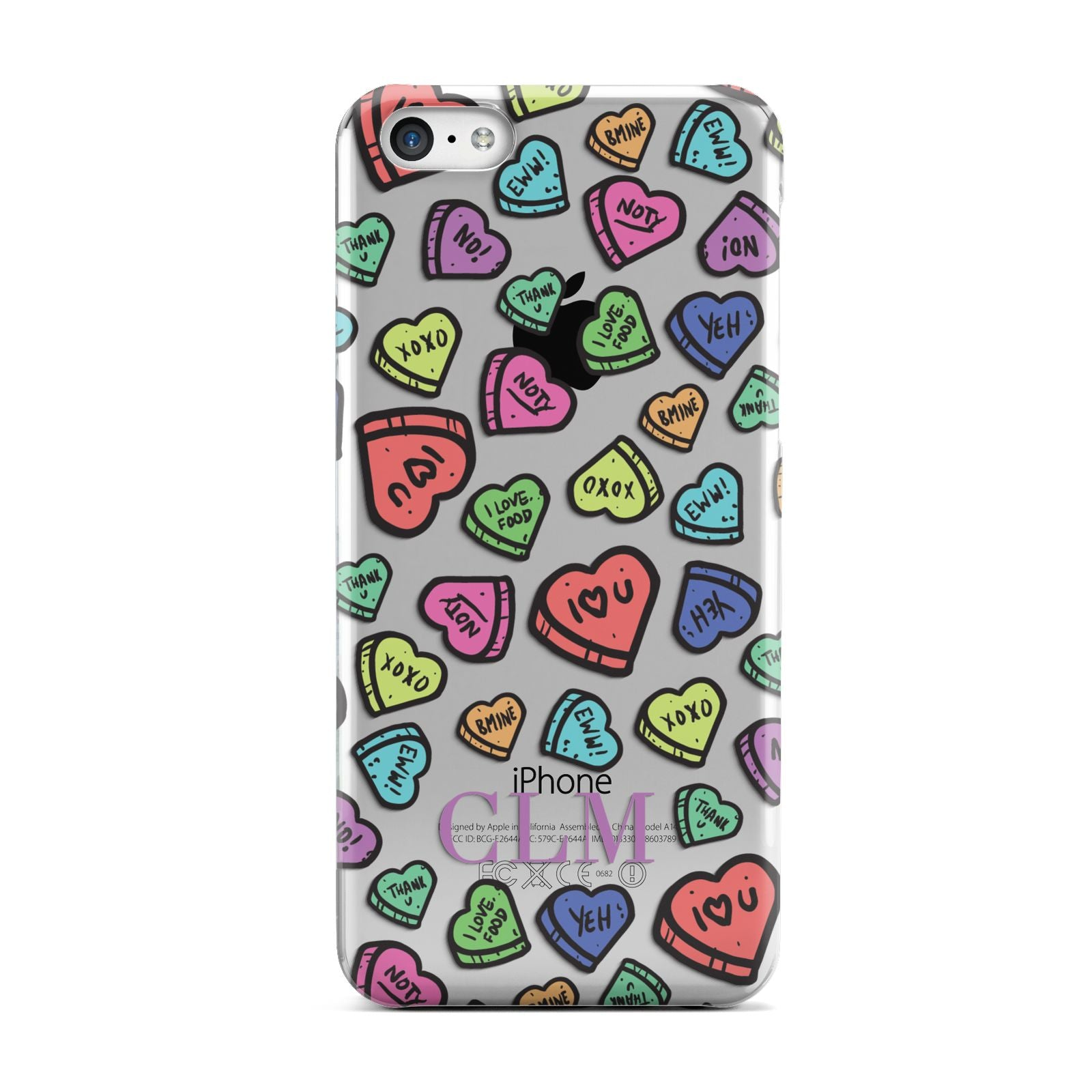 Personalised Love Hearts Initials Apple iPhone 5c Case