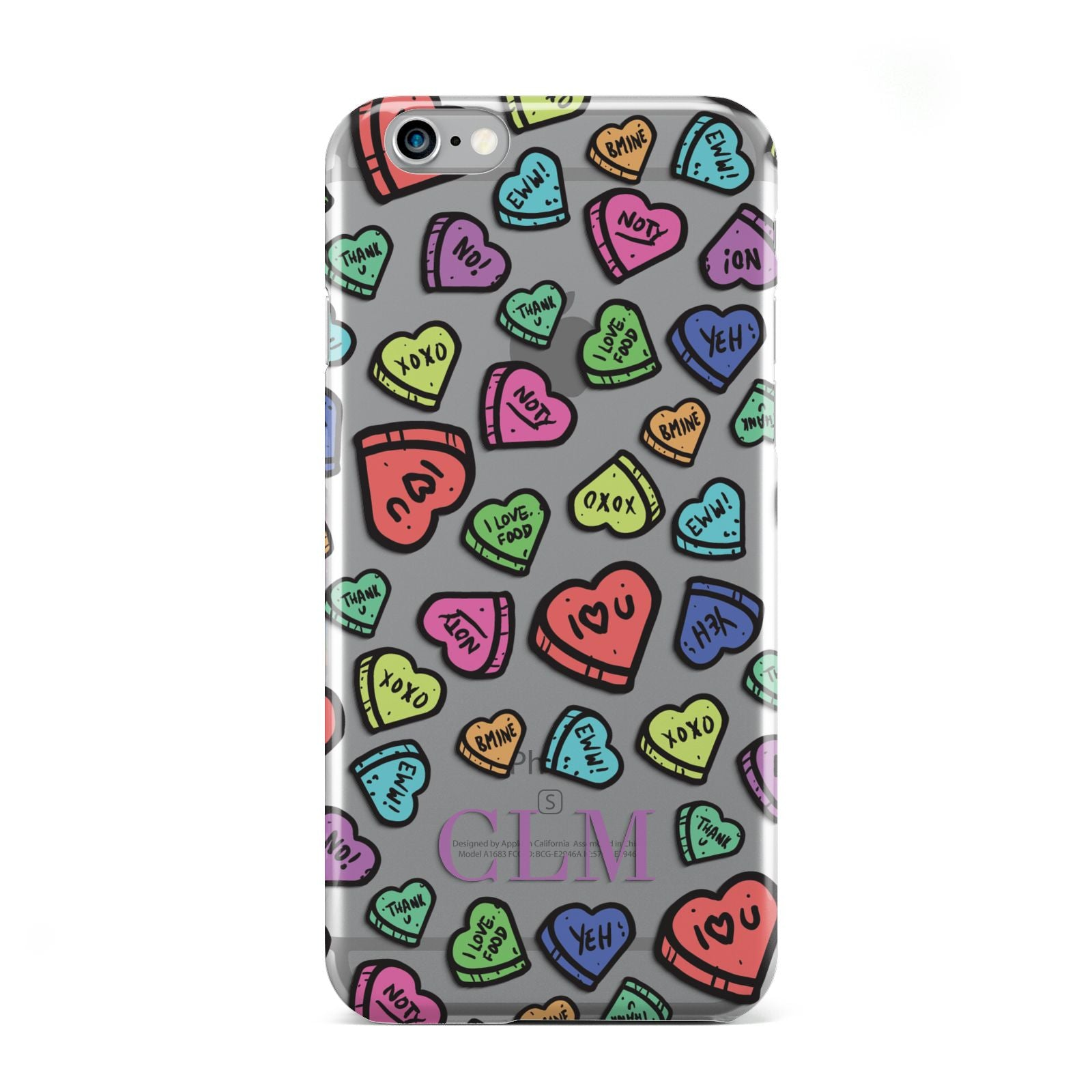 Personalised Love Hearts Initials Apple iPhone 6 Case
