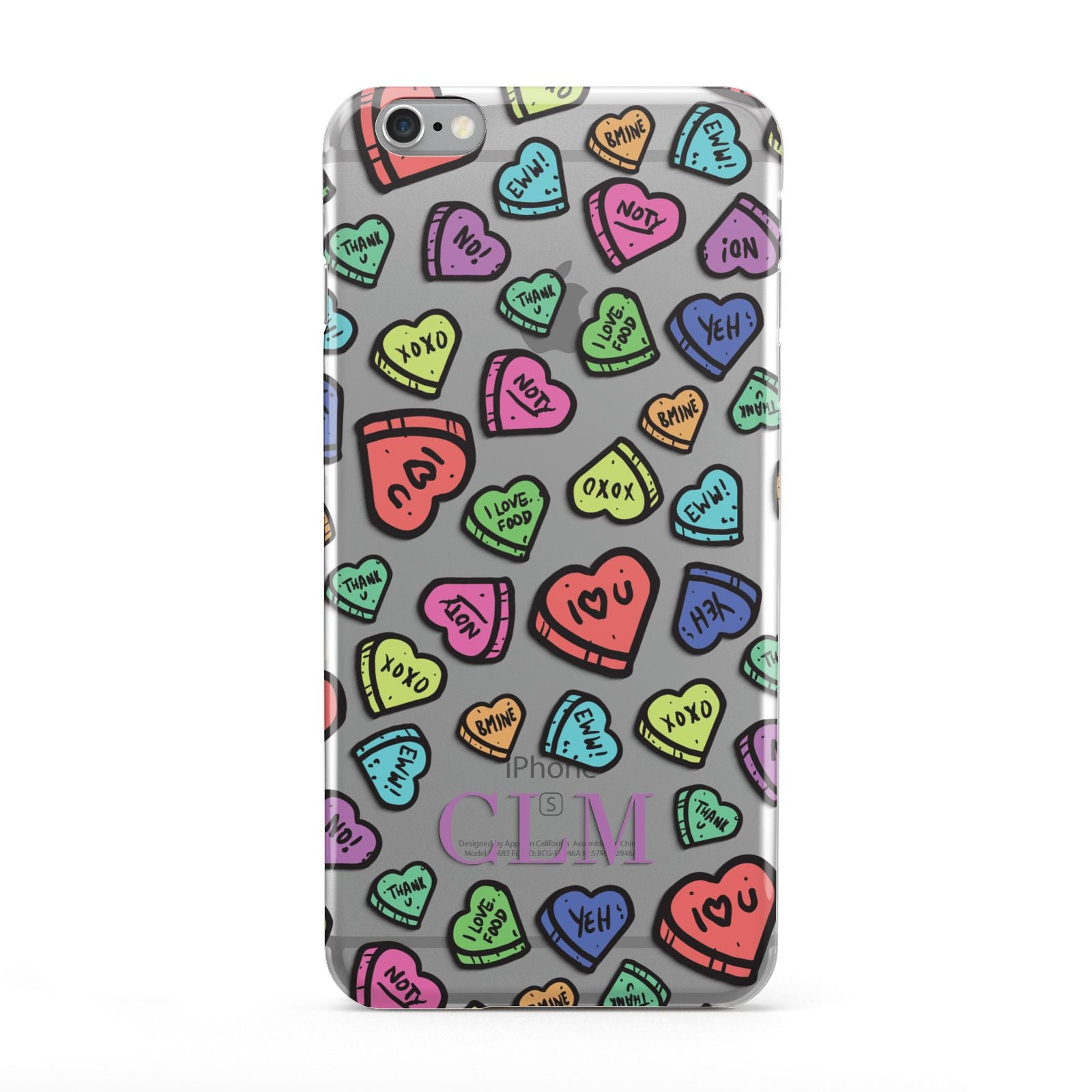 Personalised Love Hearts Initials Apple iPhone 6 Plus Case