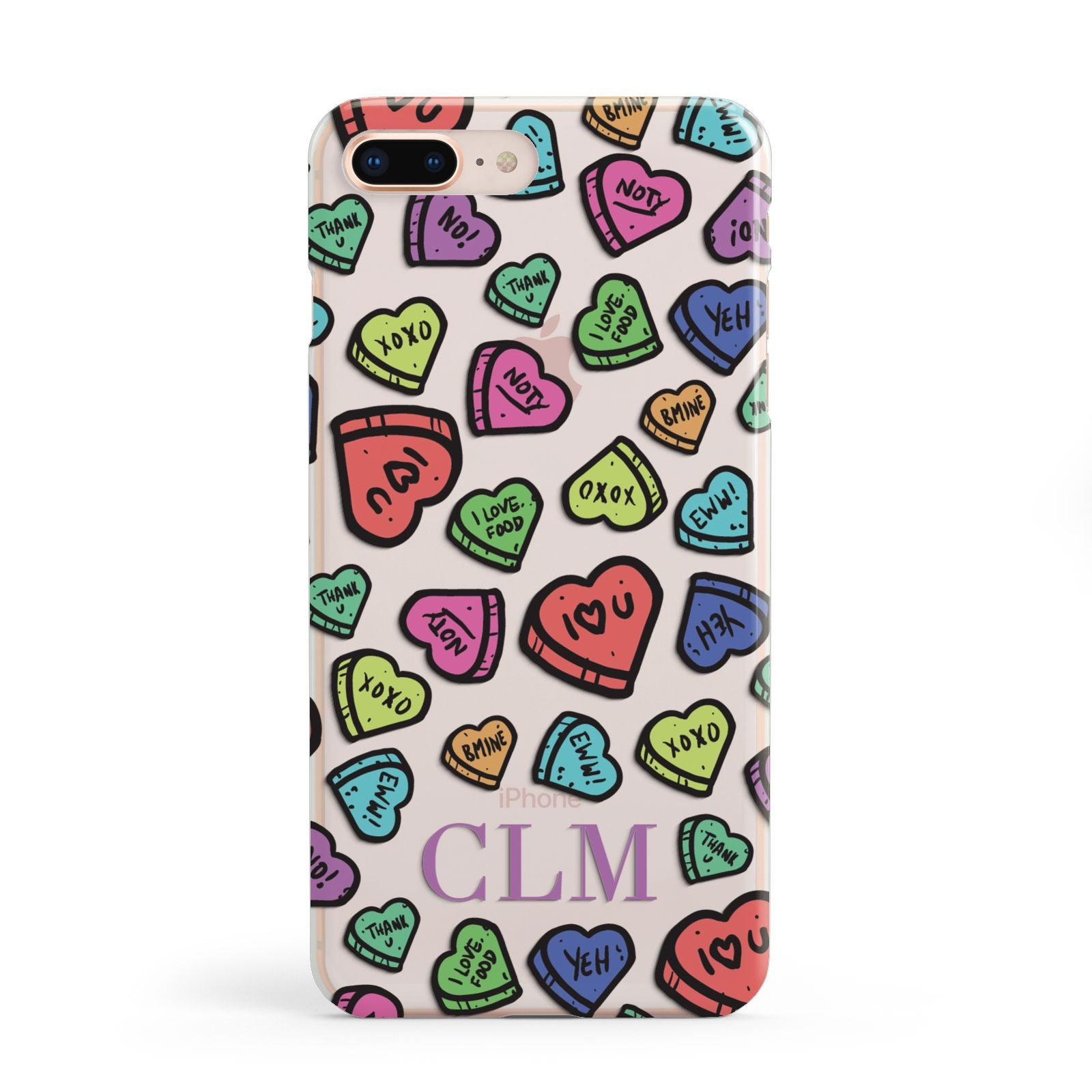 Personalised Love Hearts Initials Apple iPhone 8 Plus Case