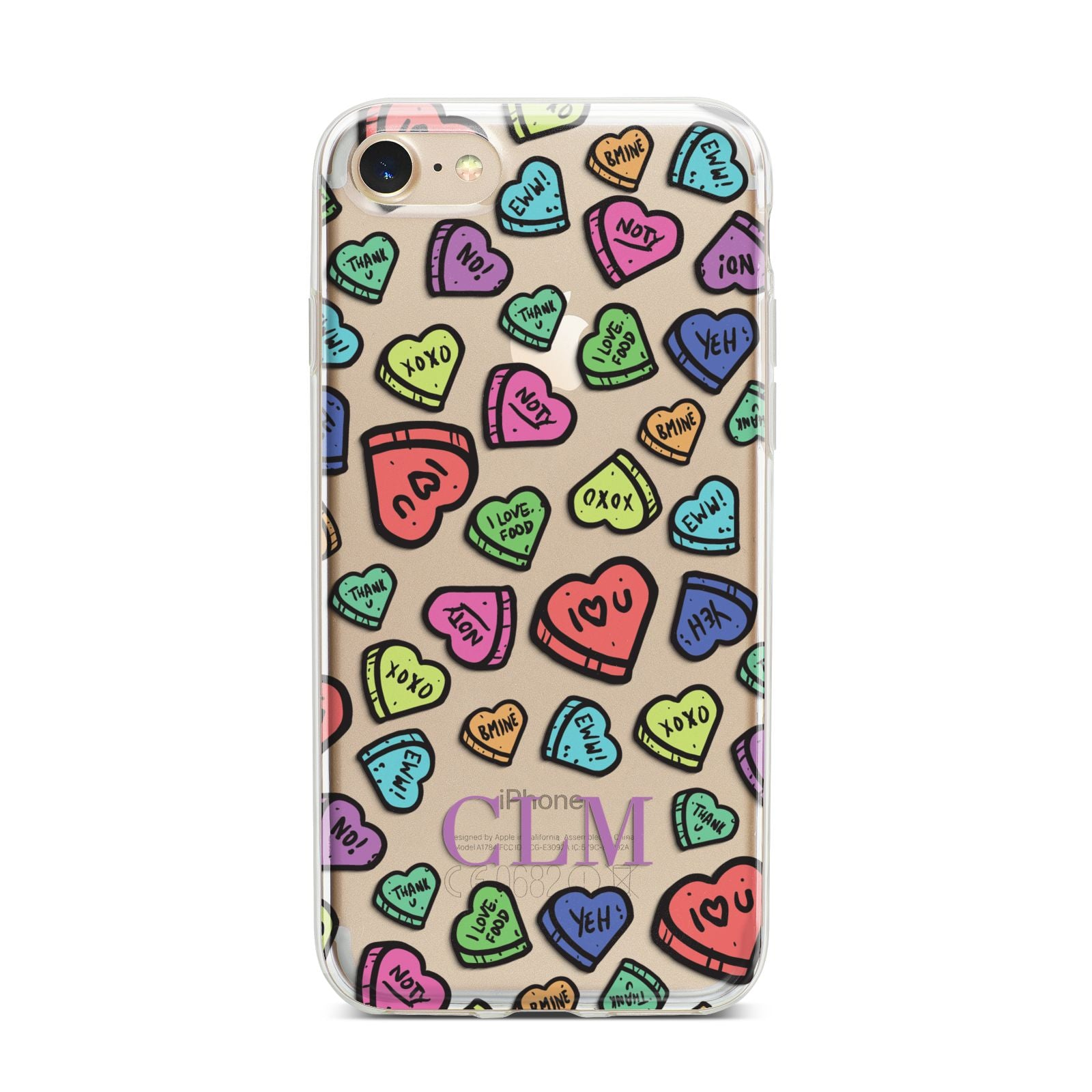 Personalised Love Hearts Initials iPhone 7 Bumper Case on Gold iPhone