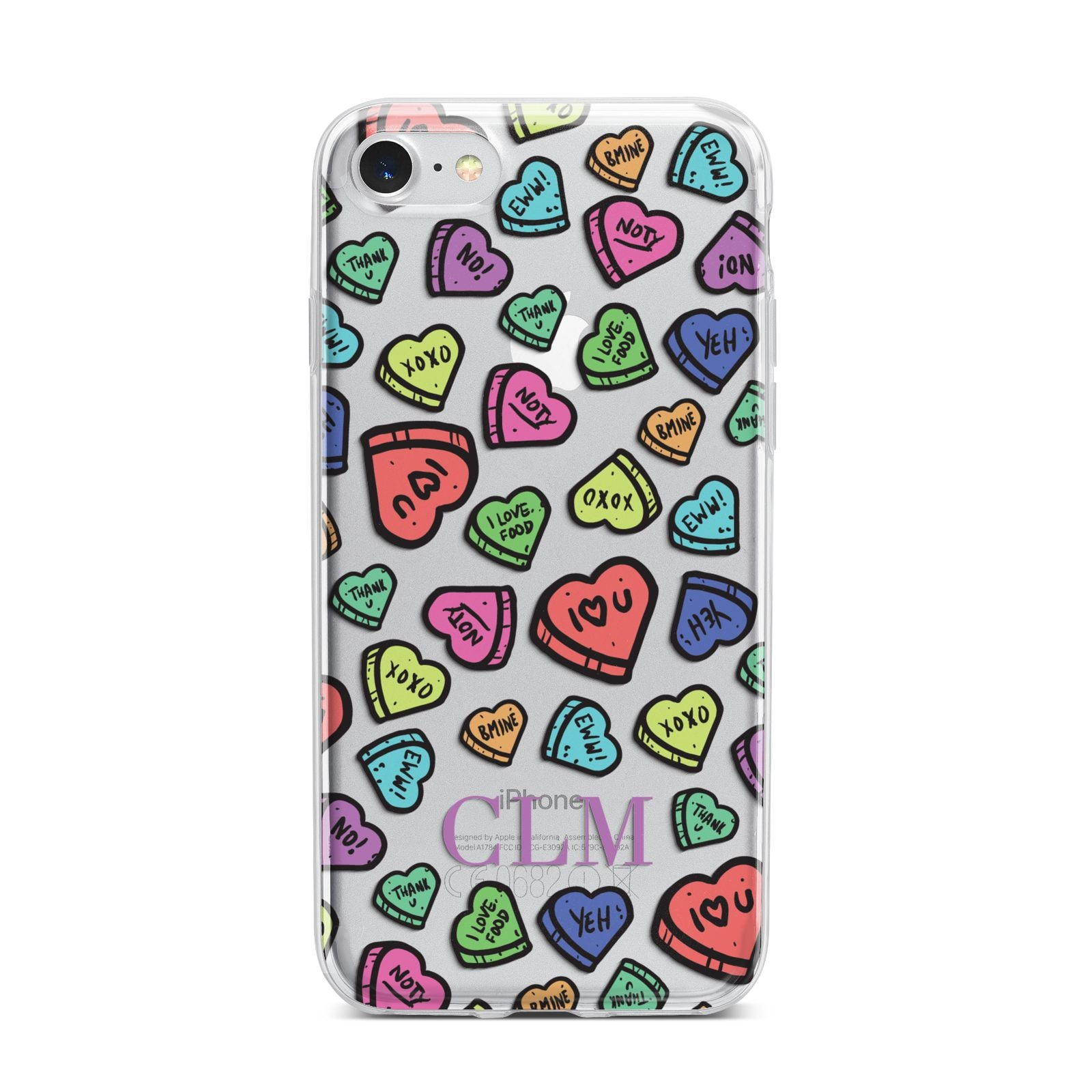 Personalised Love Hearts Initials iPhone 7 Bumper Case on Silver iPhone
