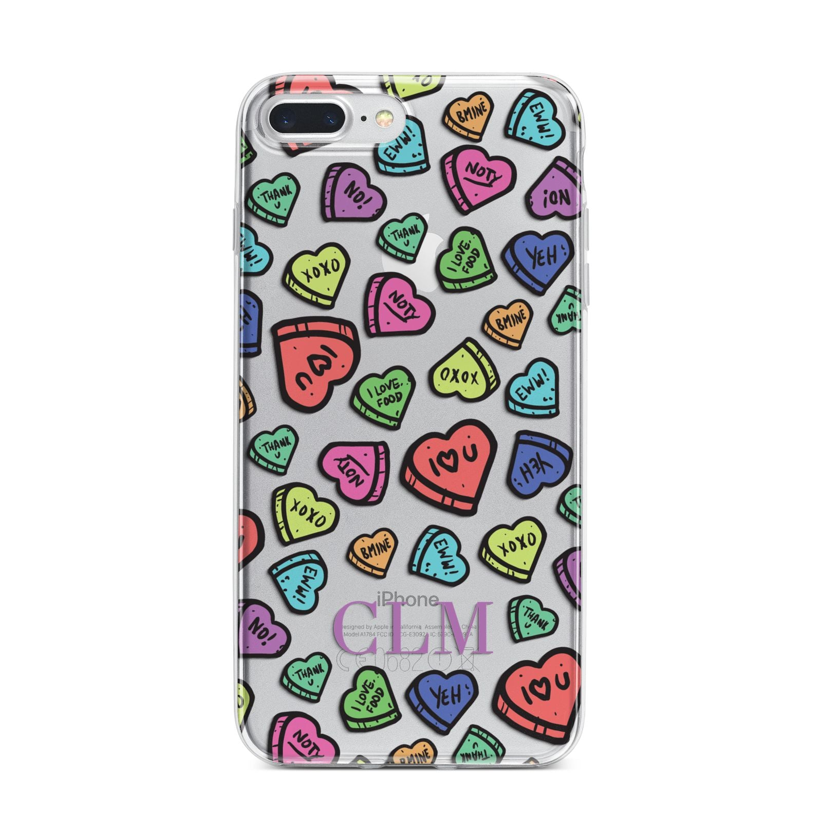 Personalised Love Hearts Initials iPhone 7 Plus Bumper Case on Silver iPhone