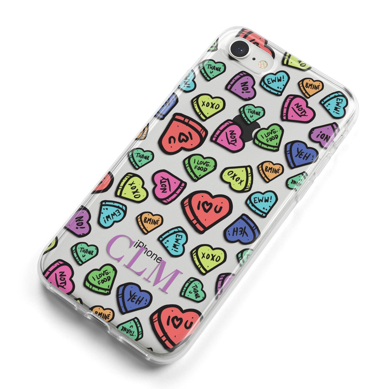 Personalised Love Hearts Initials iPhone 8 Bumper Case on Silver iPhone Alternative Image