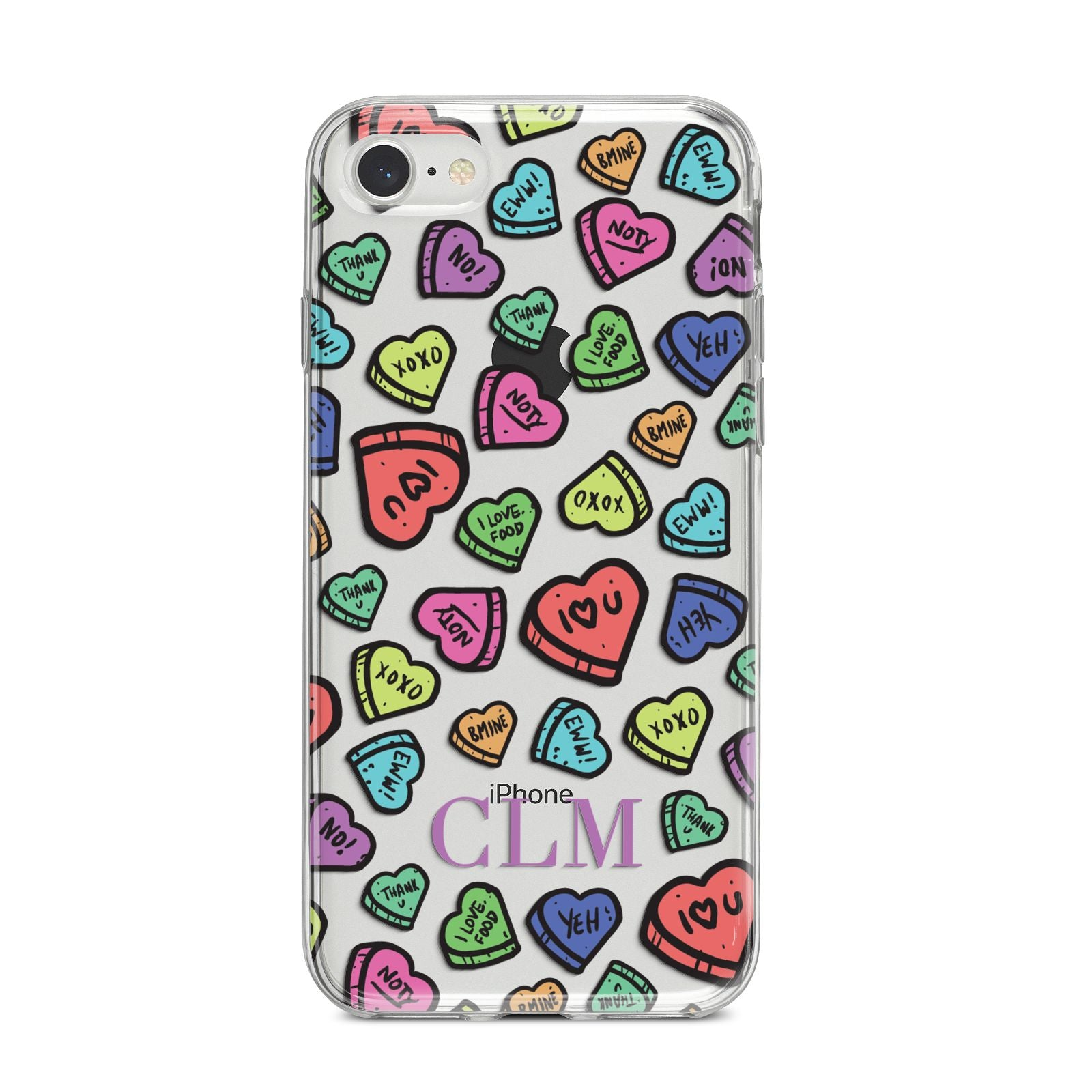 Personalised Love Hearts Initials iPhone 8 Bumper Case on Silver iPhone