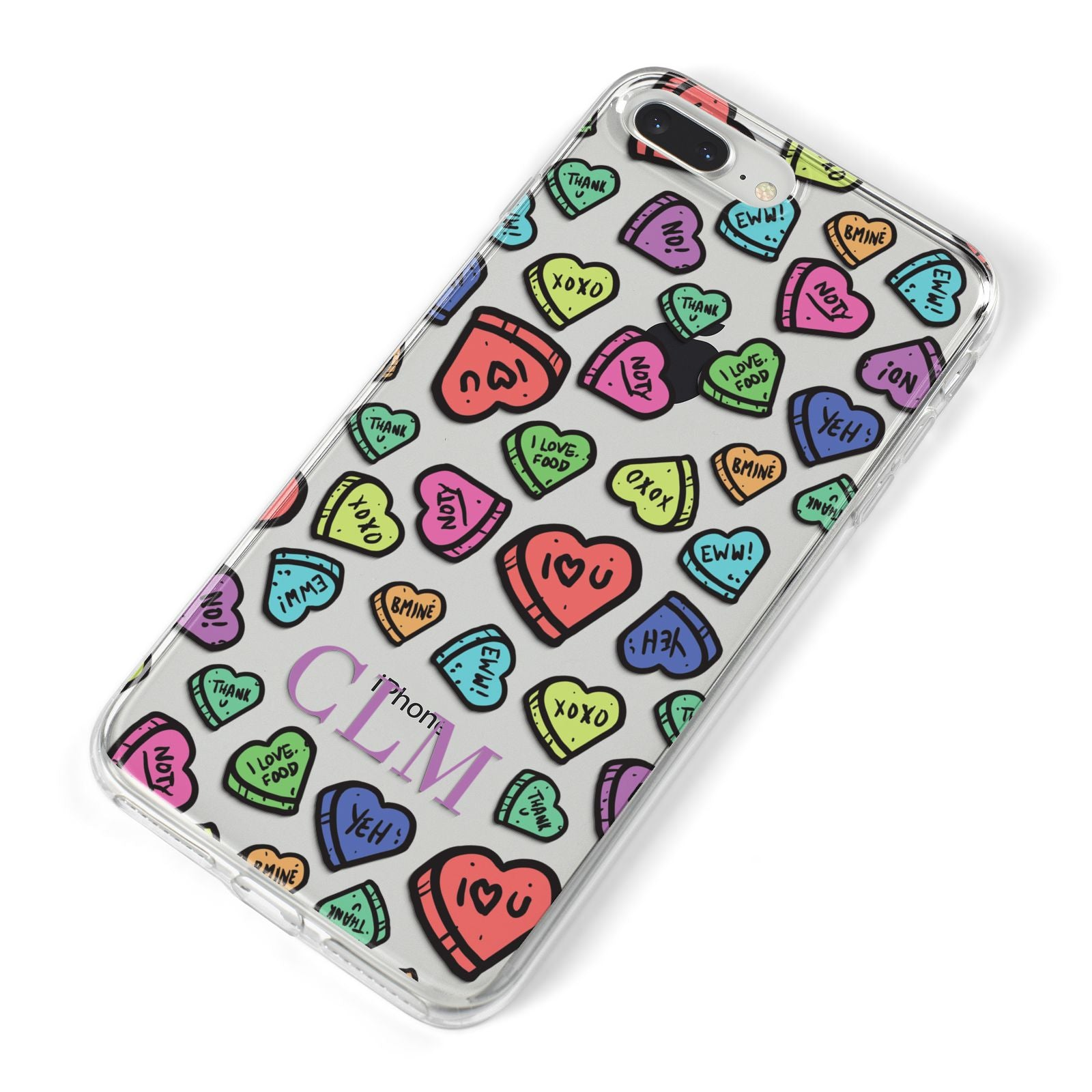 Personalised Love Hearts Initials iPhone 8 Plus Bumper Case on Silver iPhone Alternative Image