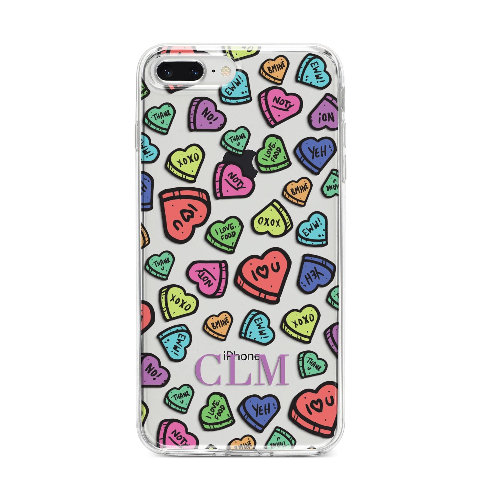 Personalised Love Hearts Initials iPhone 8 Plus Bumper Case on Silver iPhone
