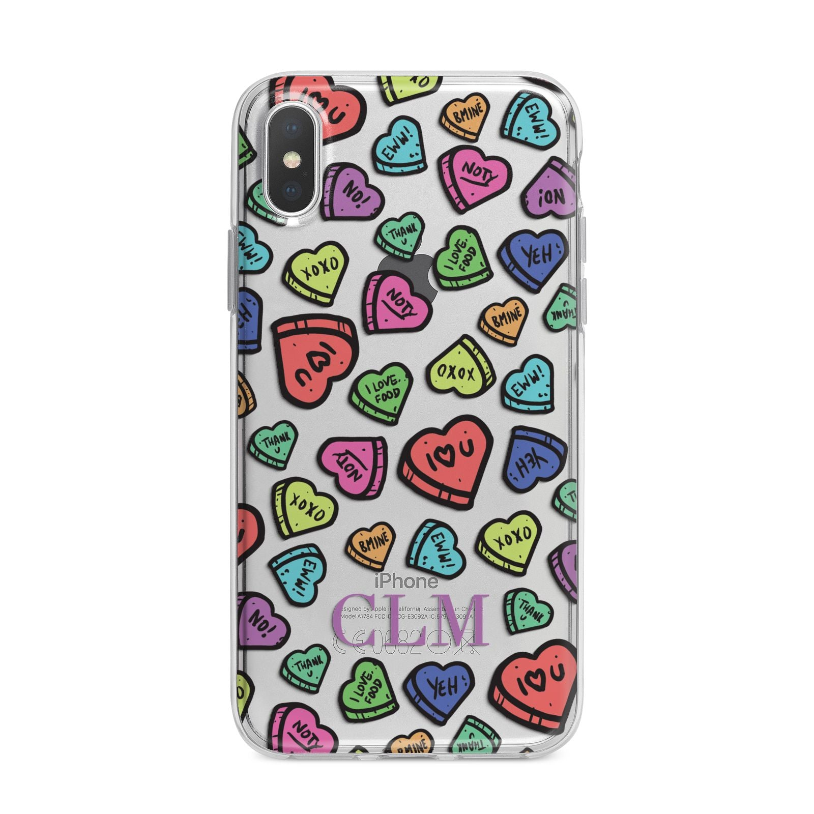 Personalised Love Hearts Initials iPhone X Bumper Case on Silver iPhone Alternative Image 1