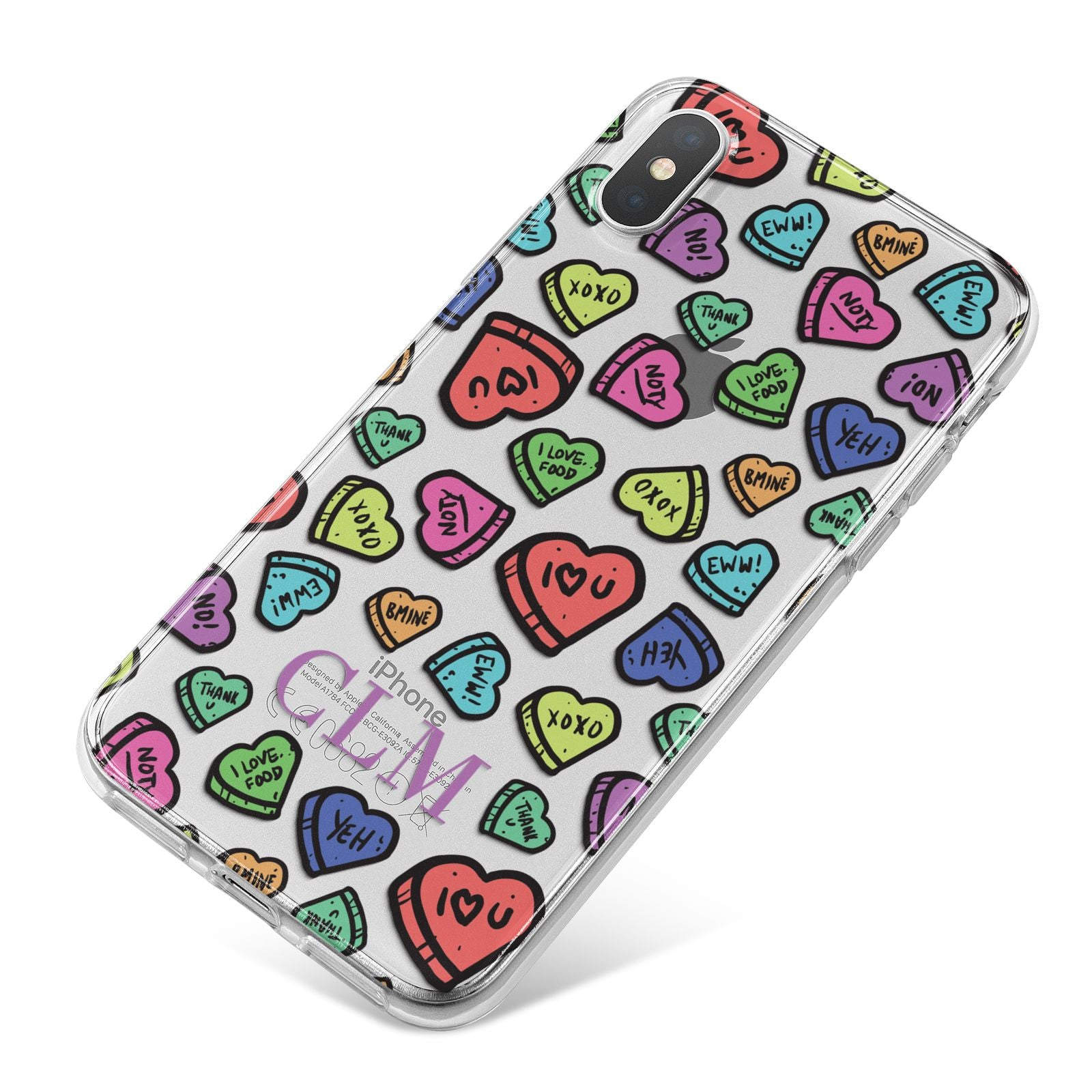 Personalised Love Hearts Initials iPhone X Bumper Case on Silver iPhone