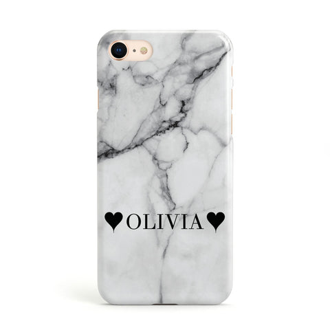 Personalised Love Hearts Marble Name Apple iPhone Case