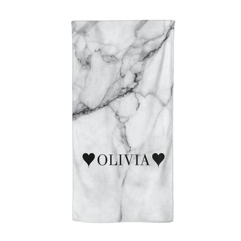 Personalised Love Hearts Marble Name Beach Towel