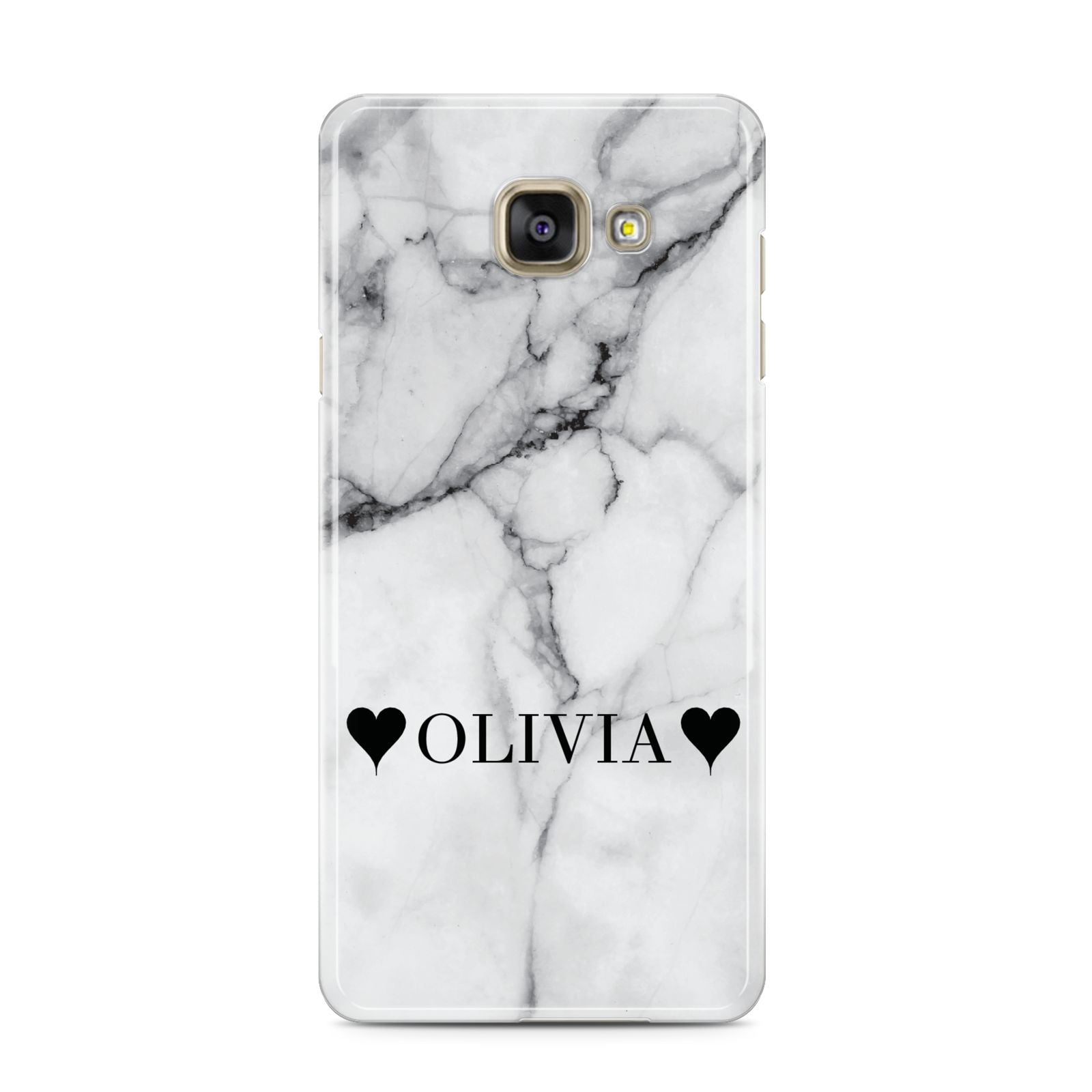 Personalised Love Hearts Marble Name Samsung Galaxy A3 2016 Case on gold phone