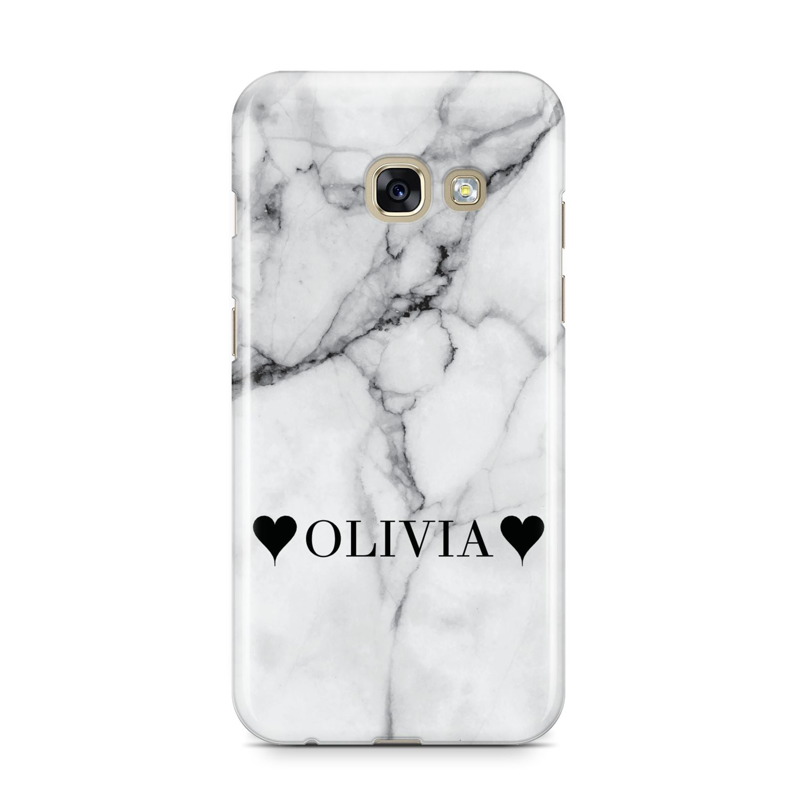 Personalised Love Hearts Marble Name Samsung Galaxy A3 2017 Case on gold phone