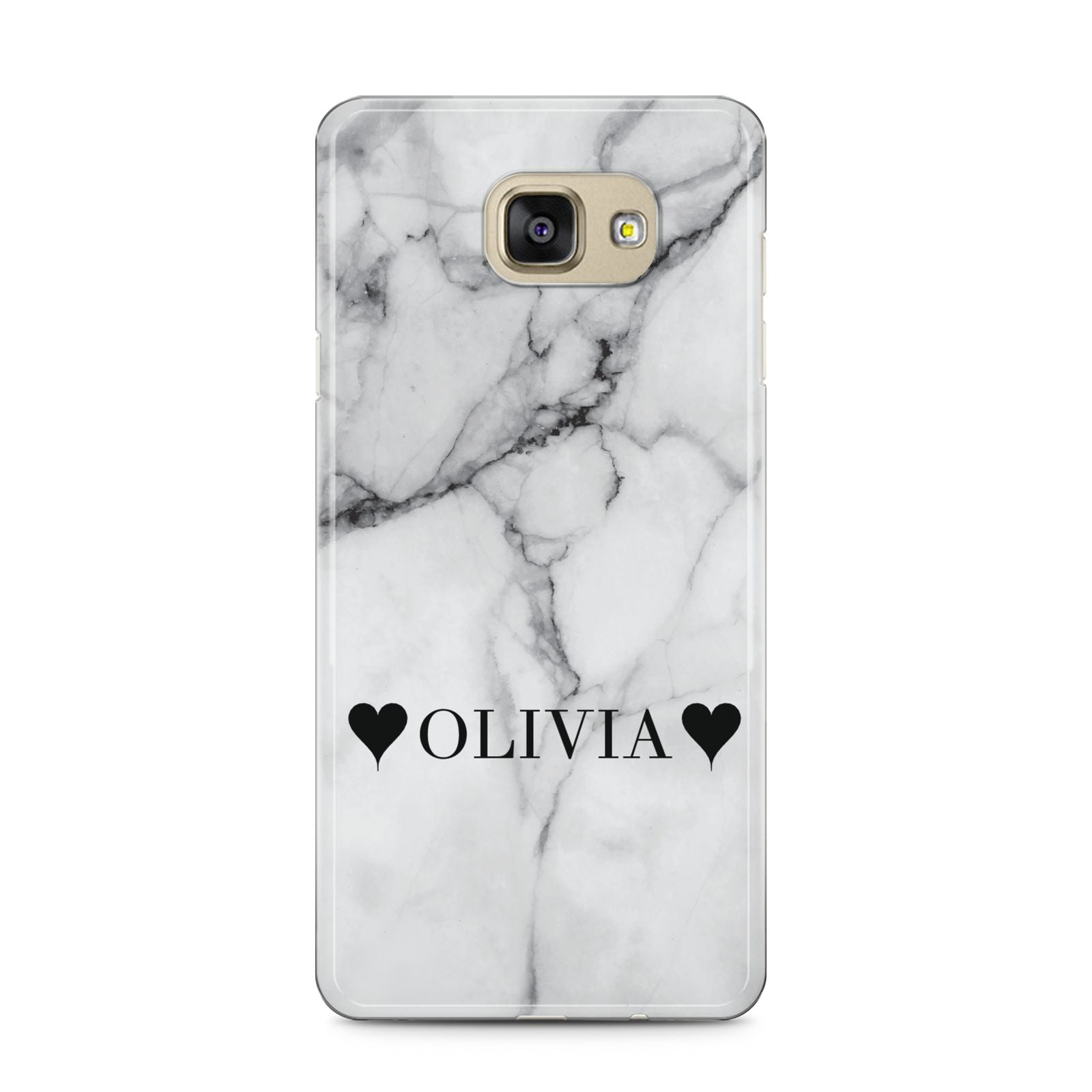 Personalised Love Hearts Marble Name Samsung Galaxy A5 2016 Case on gold phone
