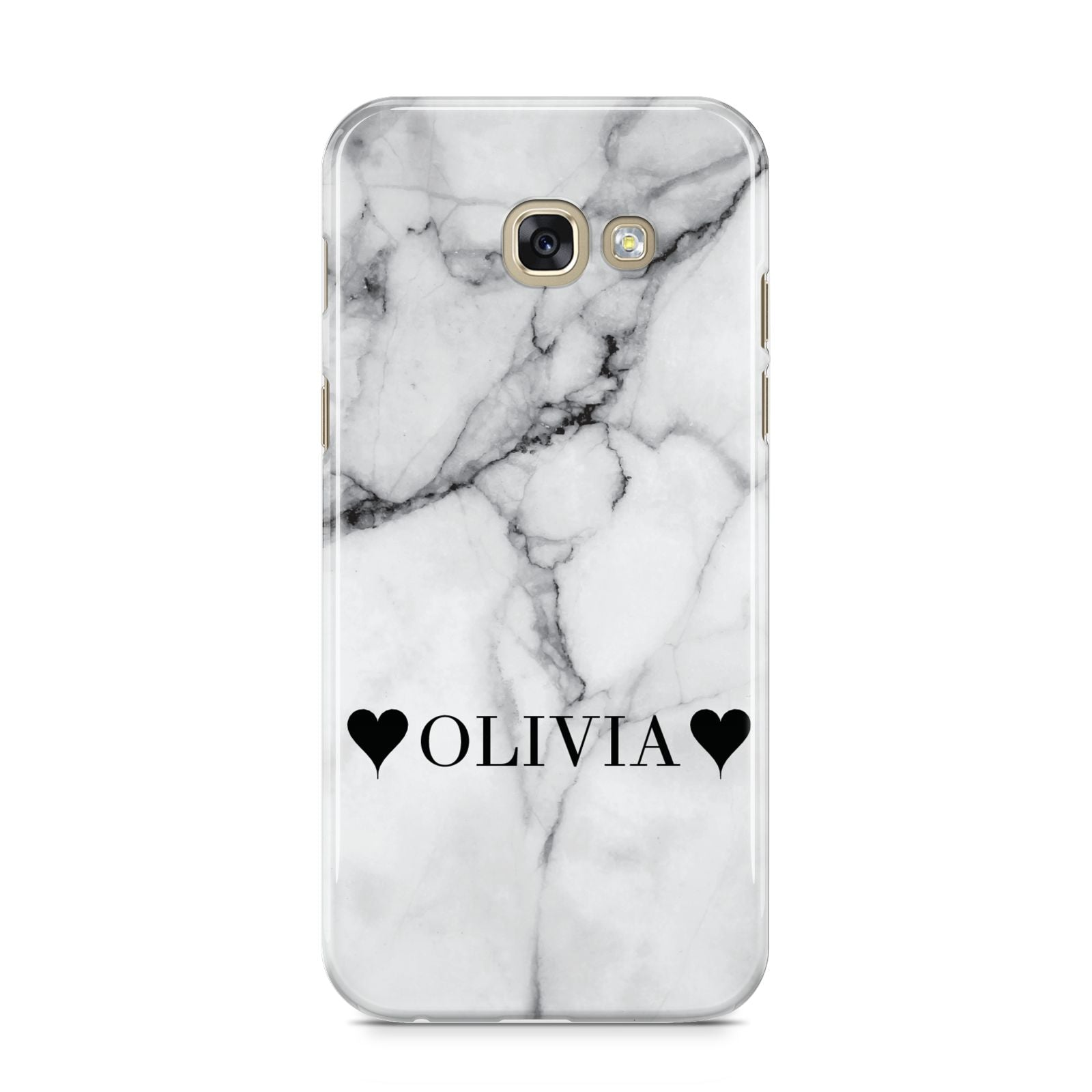 Personalised Love Hearts Marble Name Samsung Galaxy A5 2017 Case on gold phone