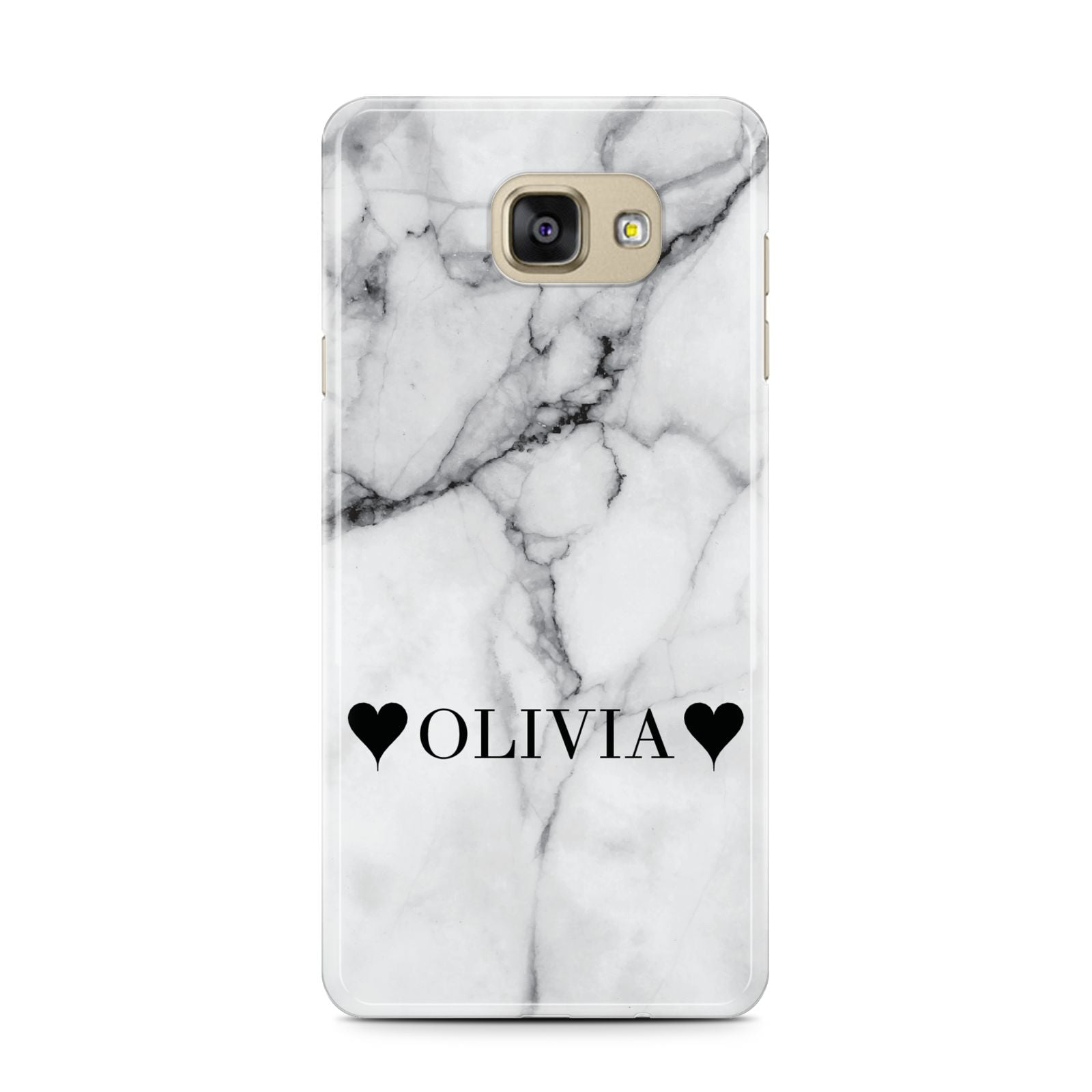 Personalised Love Hearts Marble Name Samsung Galaxy A7 2016 Case on gold phone