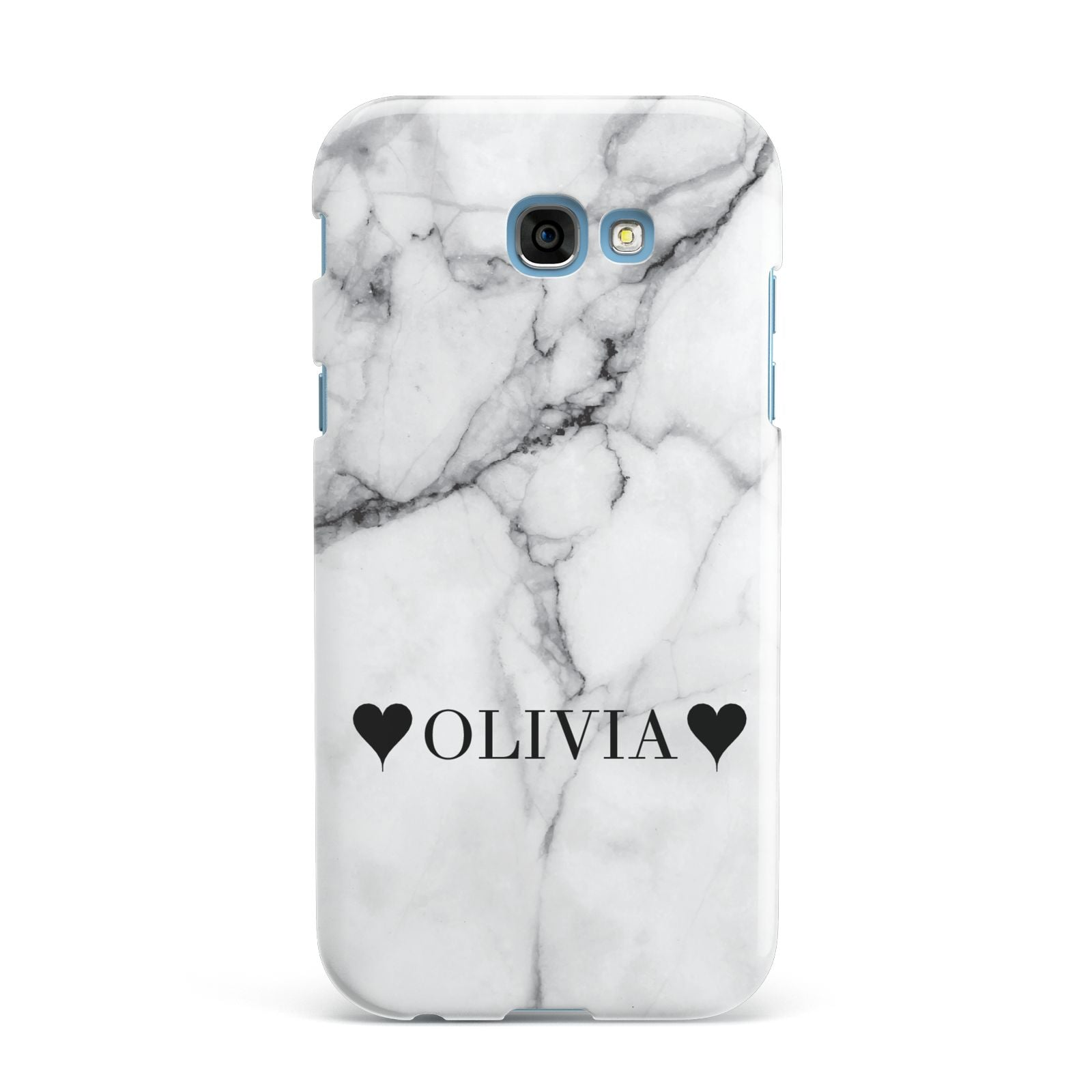 Personalised Love Hearts Marble Name Samsung Galaxy A7 2017 Case