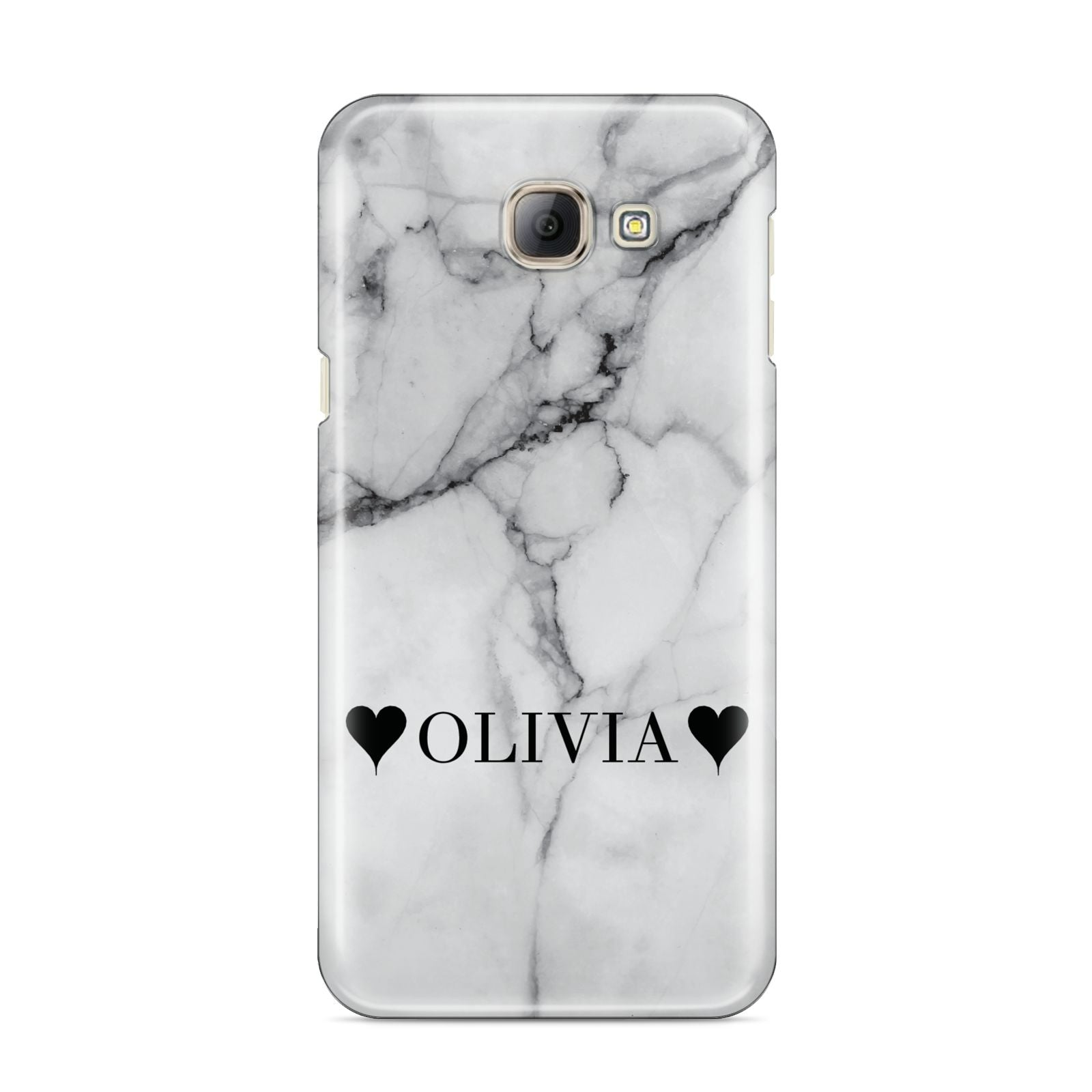 Personalised Love Hearts Marble Name Samsung Galaxy A8 2016 Case