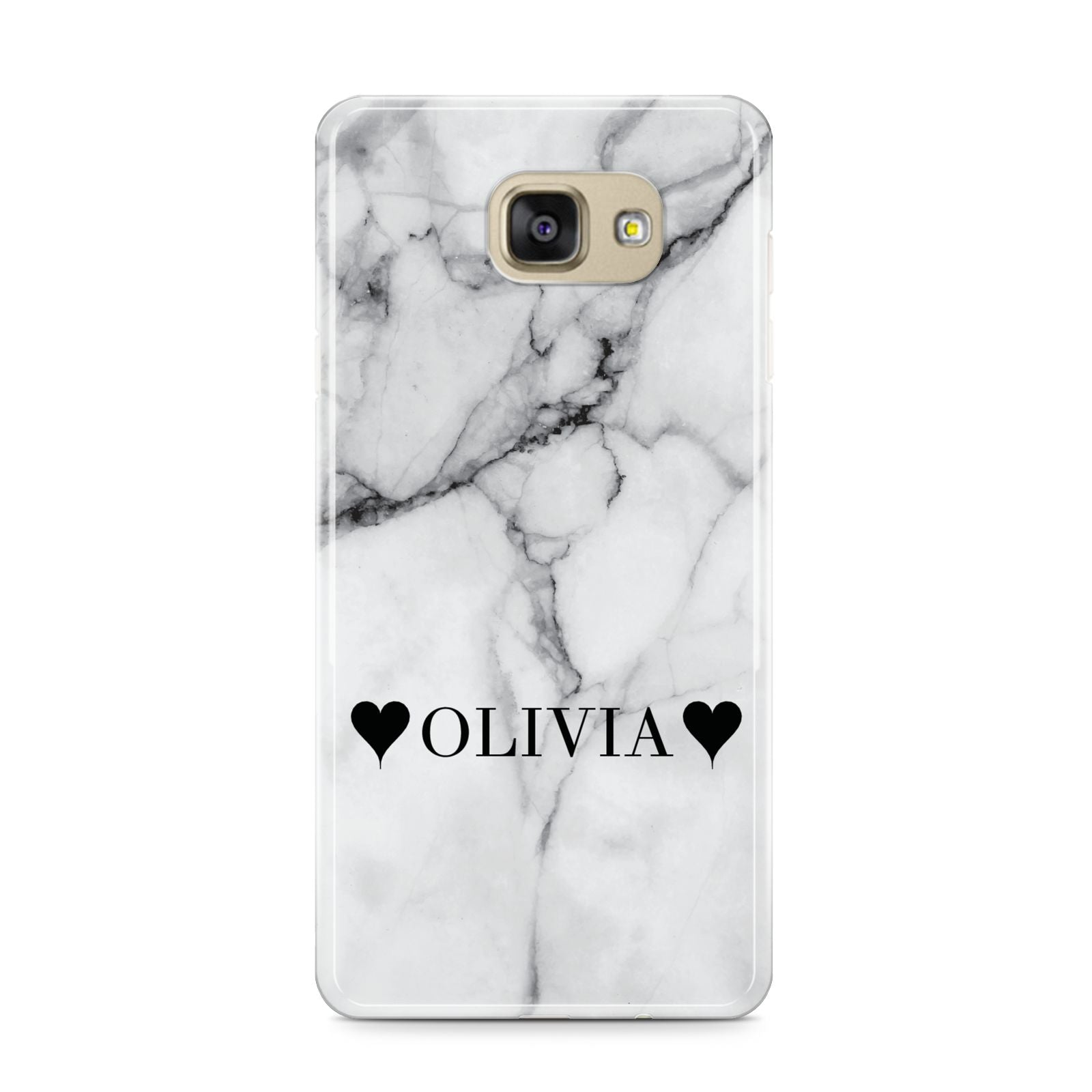 Personalised Love Hearts Marble Name Samsung Galaxy A9 2016 Case on gold phone
